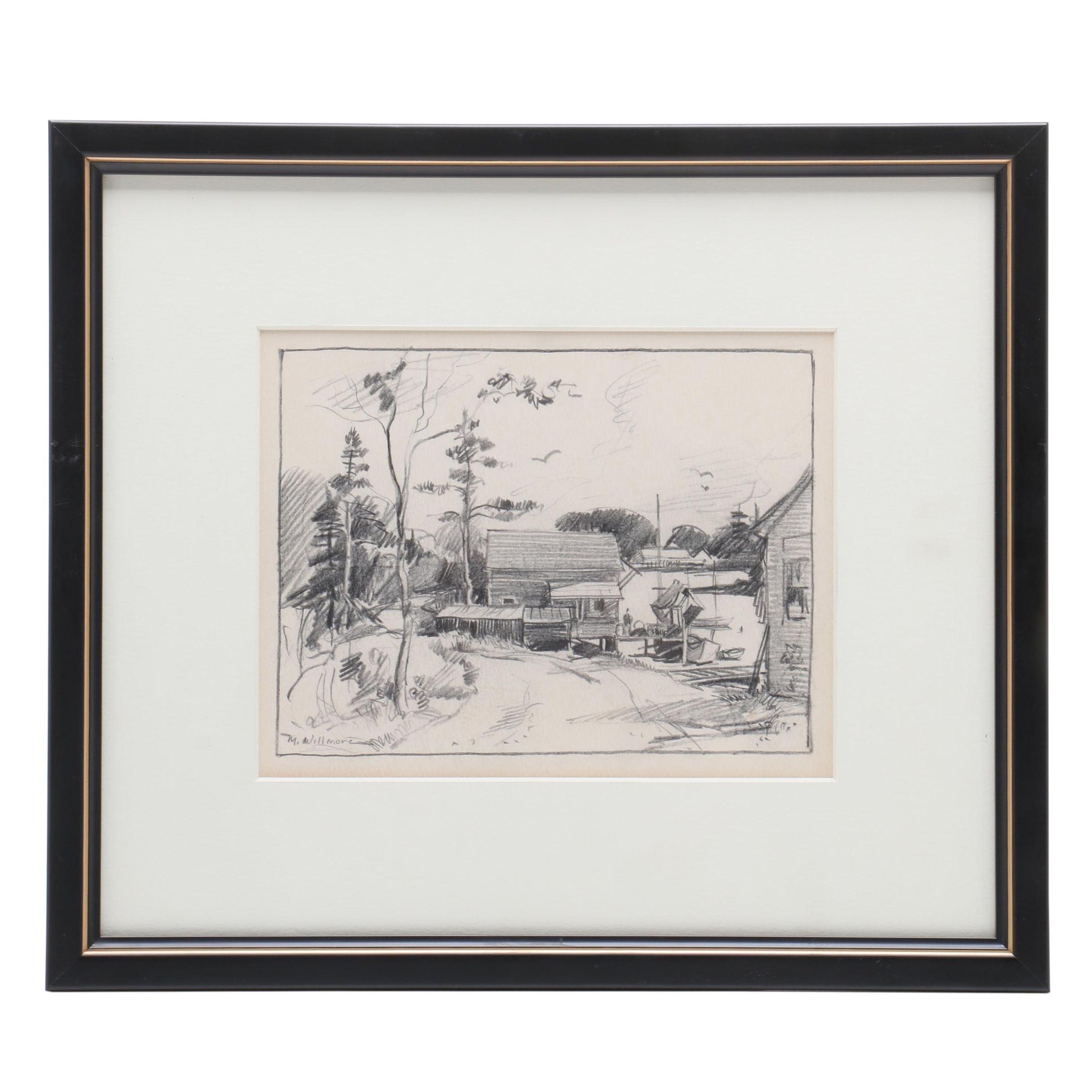 Merton Willmore Mid-Century Graphite Landscape Drawing