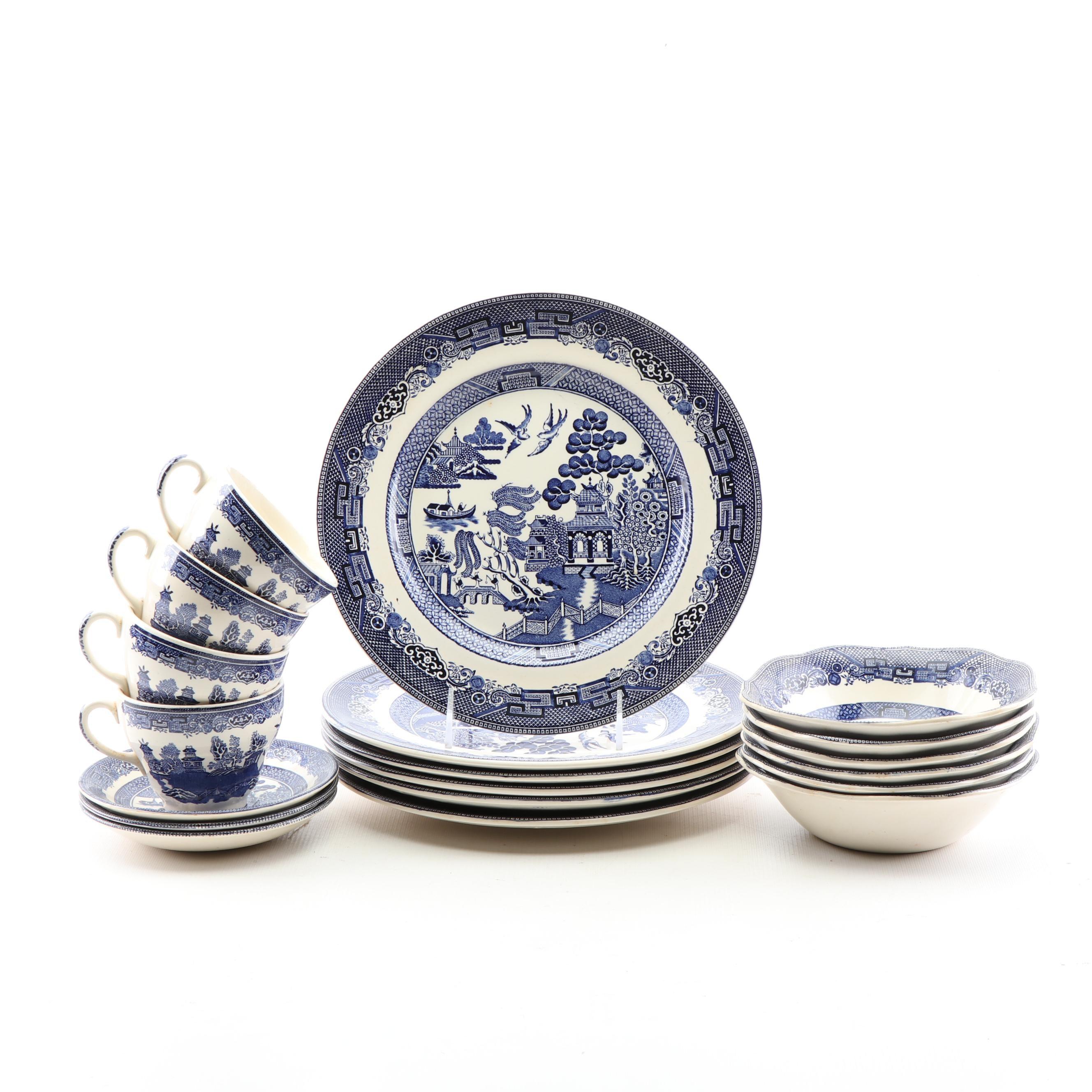"Johnson Bros ""Willow Blue"" Dinnerware Set"