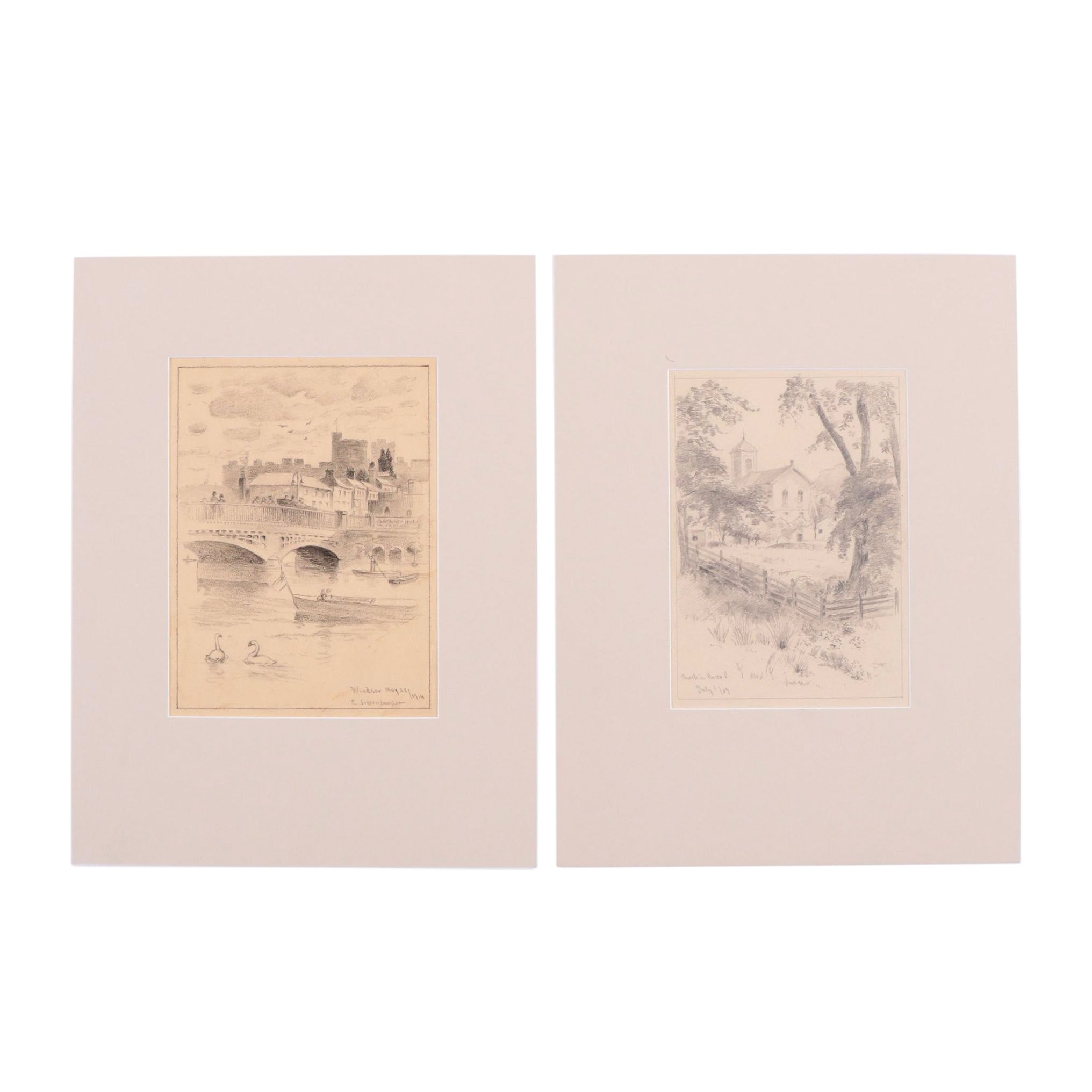 E. Schoenbachler Early 20th-Century Graphite Drawings