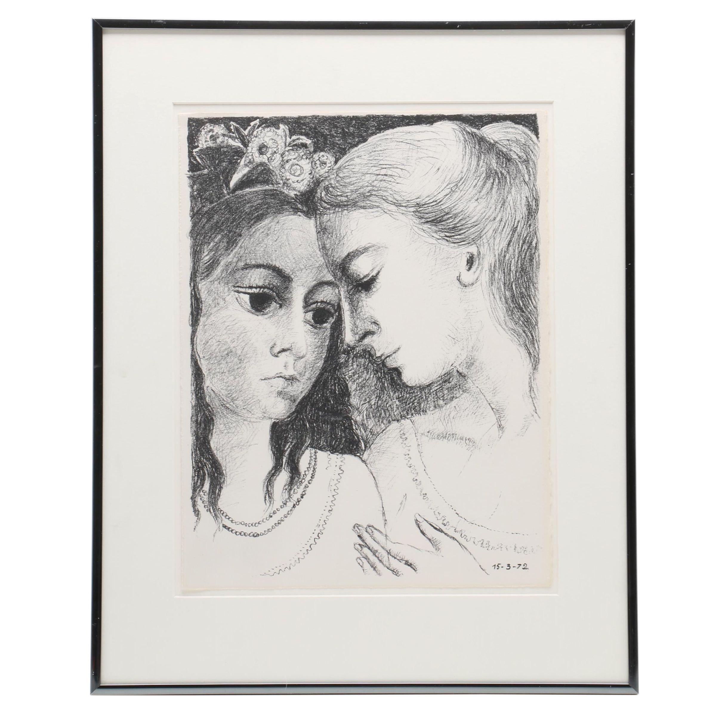 """Paul Delvaux 1972 Lithograph """"Secrets"""""""