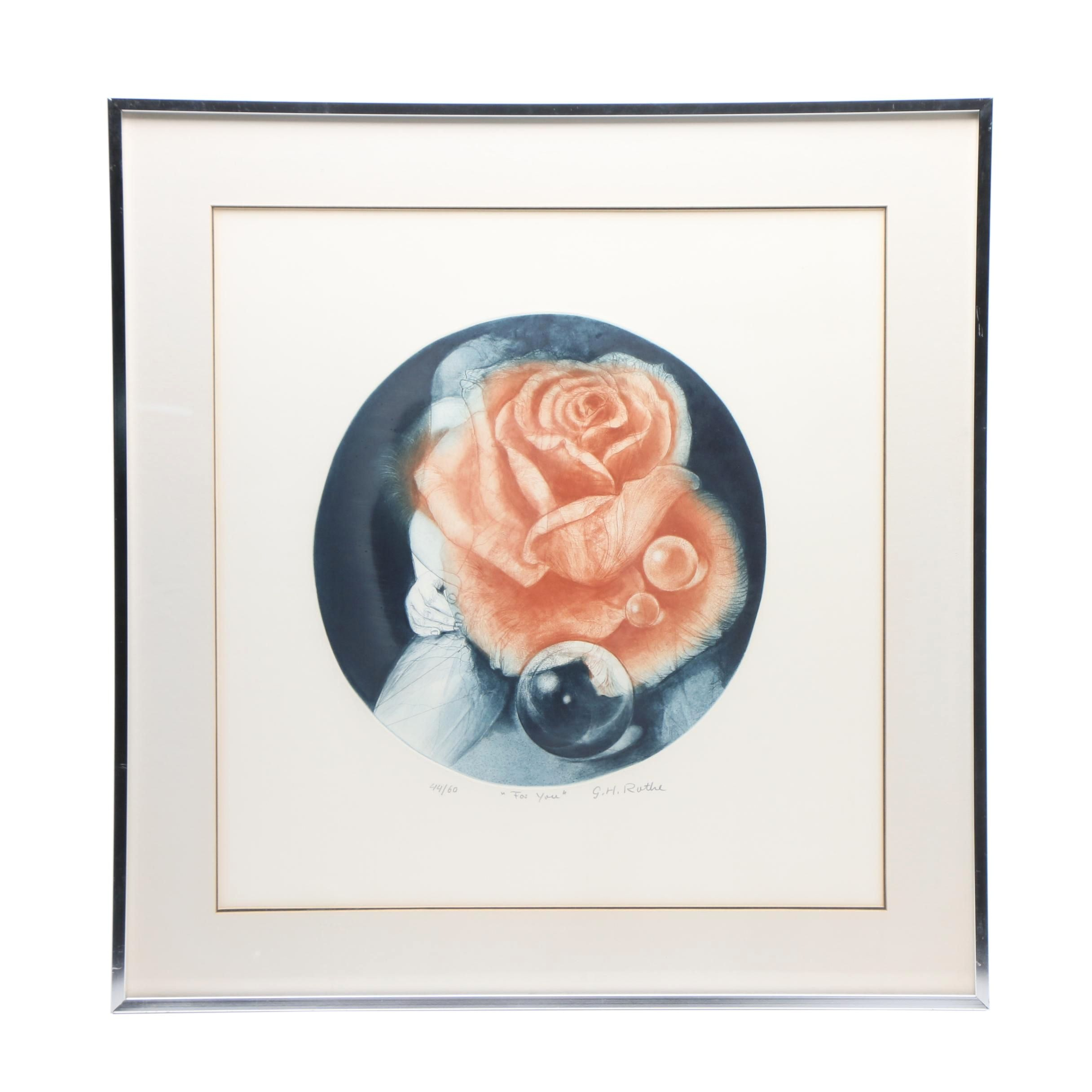 """Gatja Helgart Rothe Limited Edition Mezzotint Etching """"For You"""""""