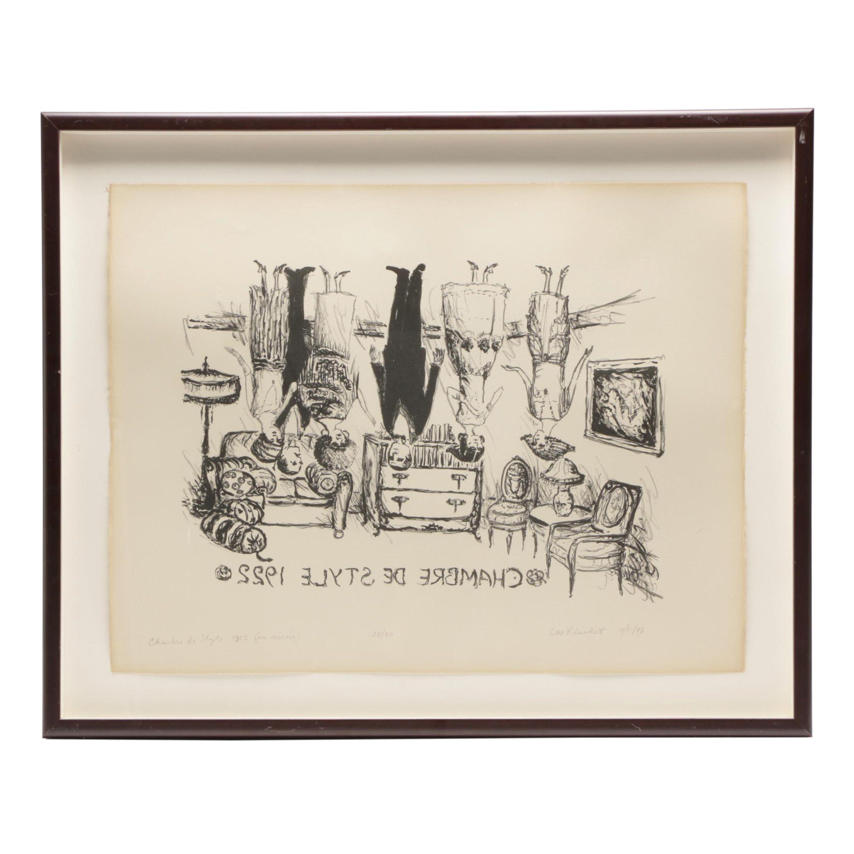 "Em Plunkett 1976 Limited Edition Lithograph ""Chambre de Style 1922 (in mirror)"""