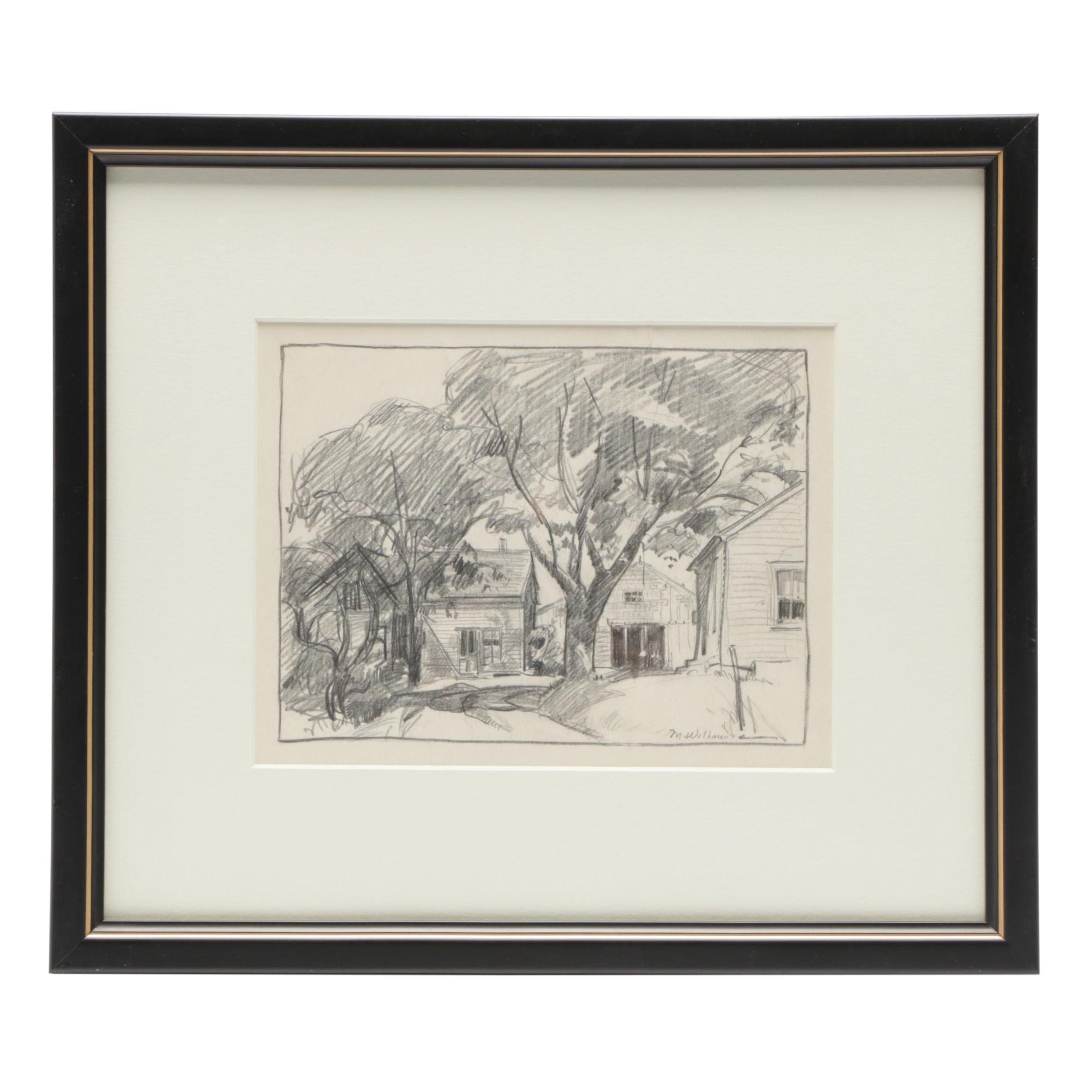 Merton Willmore Graphite Landscape Drawing