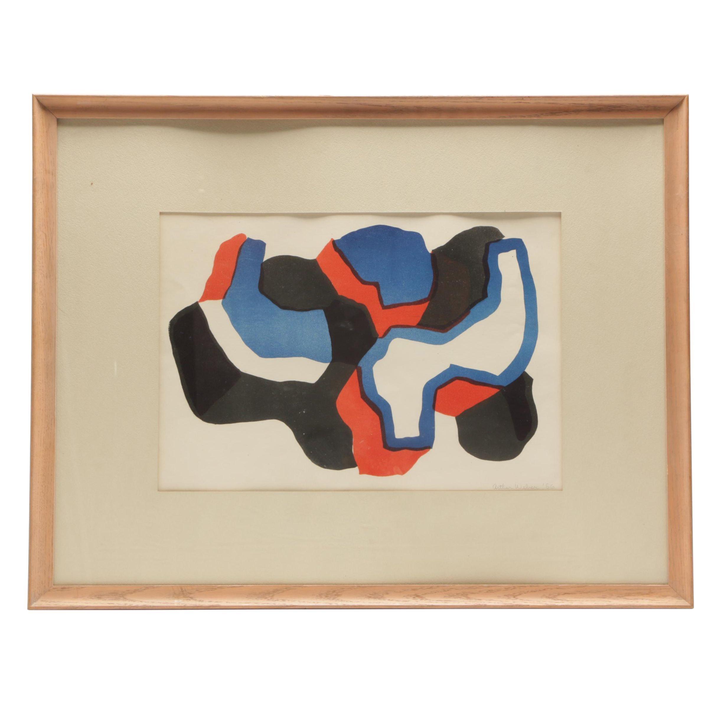 Arthur Weber 1956 Abstract Modernist Lithograph