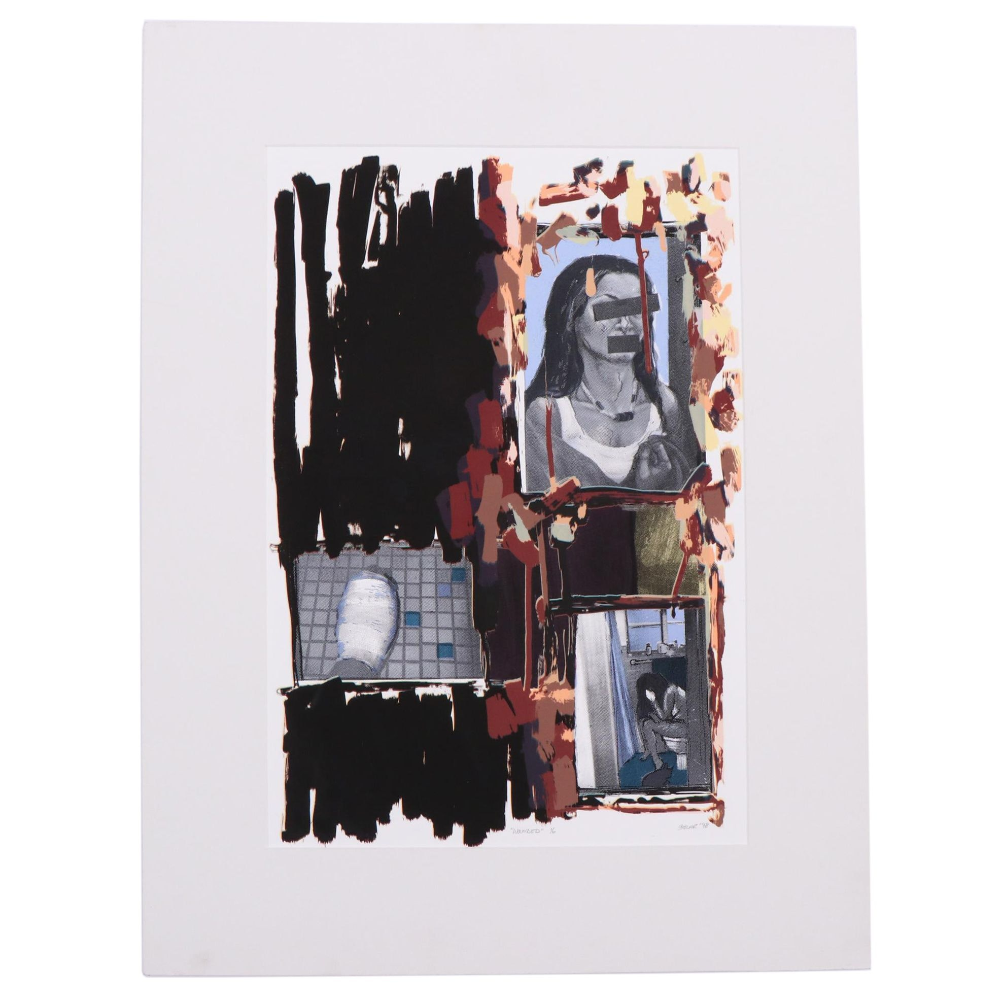 """Sarah Stolar 1998 Limited Edition Serigraph """"Wounded"""""""