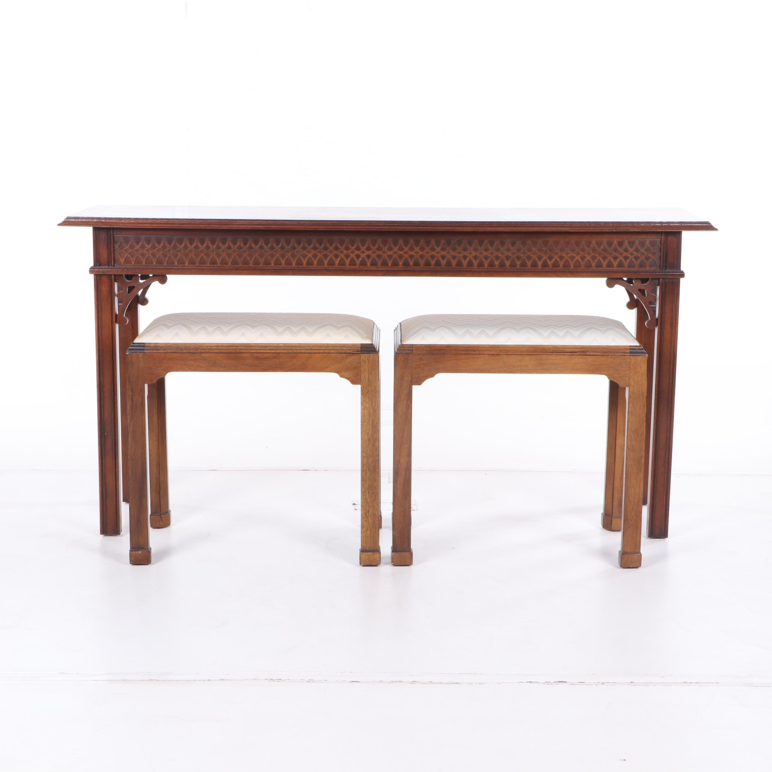 Chinese Chippendale Style Console Table and Benches, 21st Century