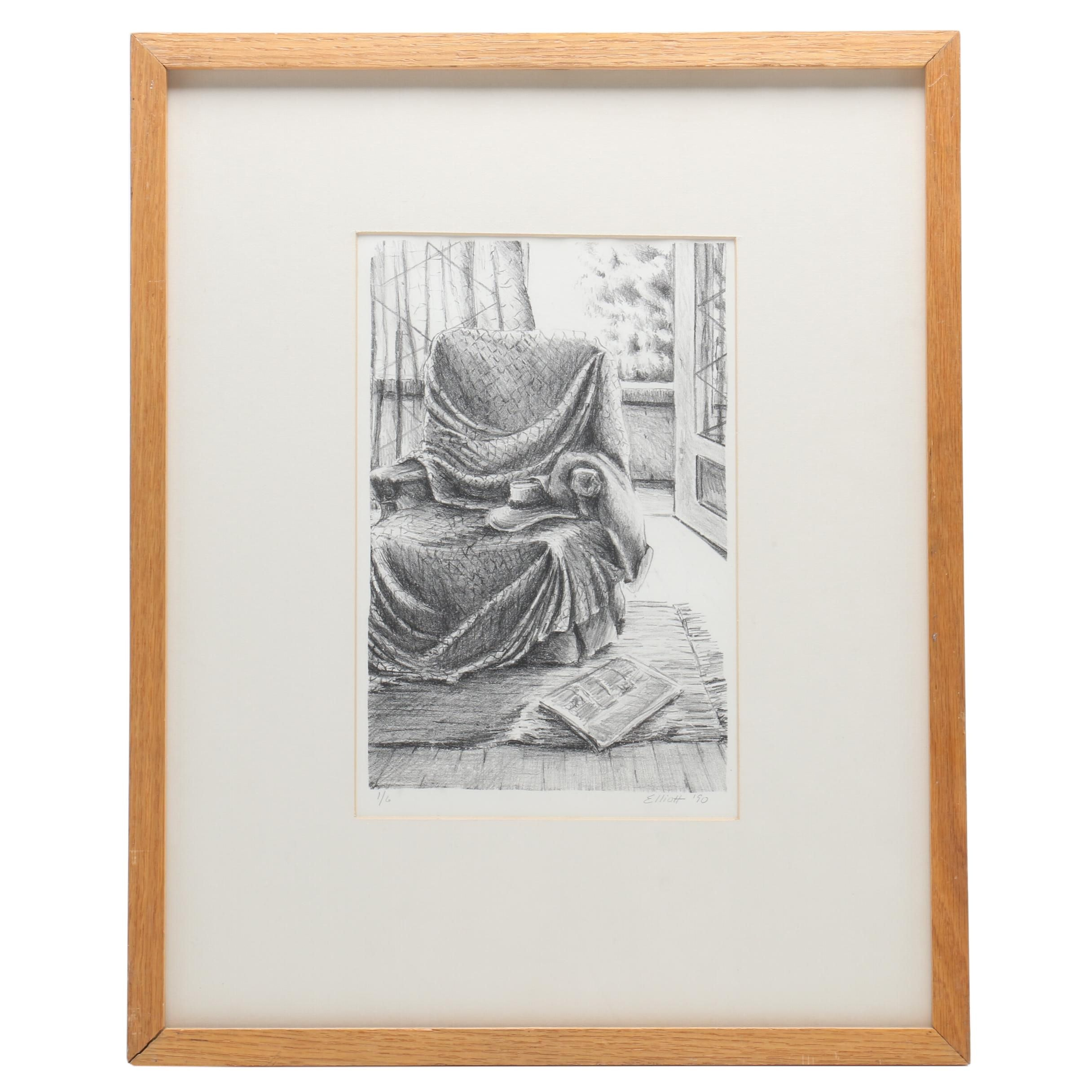 1990 Limited Edition Lithograph of Interior Scene