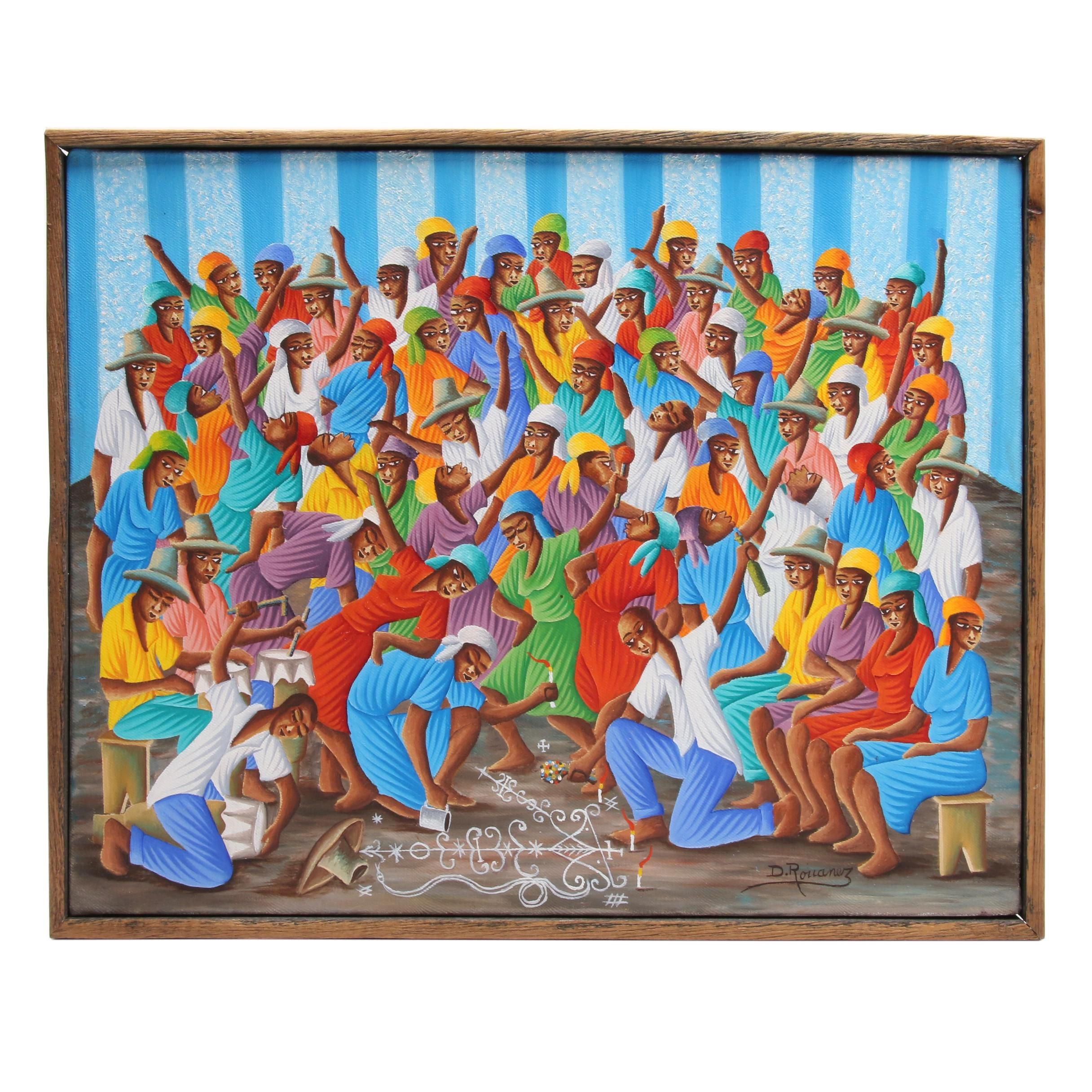 Dominique Rouanez Haitian Folk Art Acrylic Painting