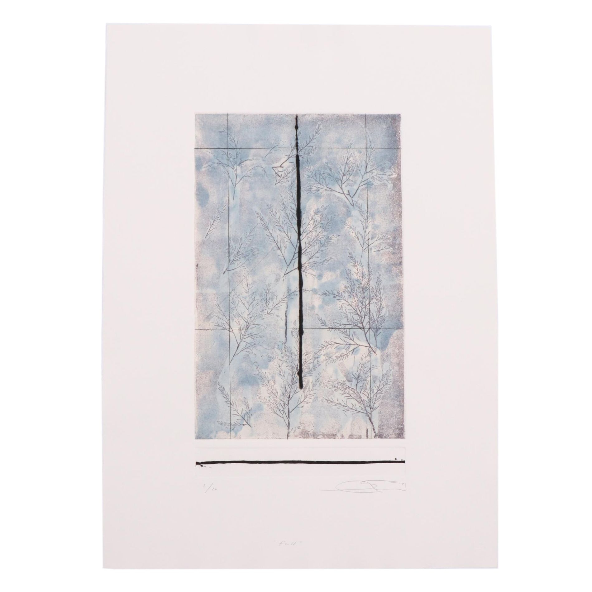 """Shōichi Ida Limited Edition Etching """"Fall"""" from Suite """"Four Seasons"""""""