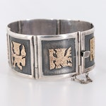 Sterling Silver Meso-American Motif Bracelet with 18K Yellow Gold Accents