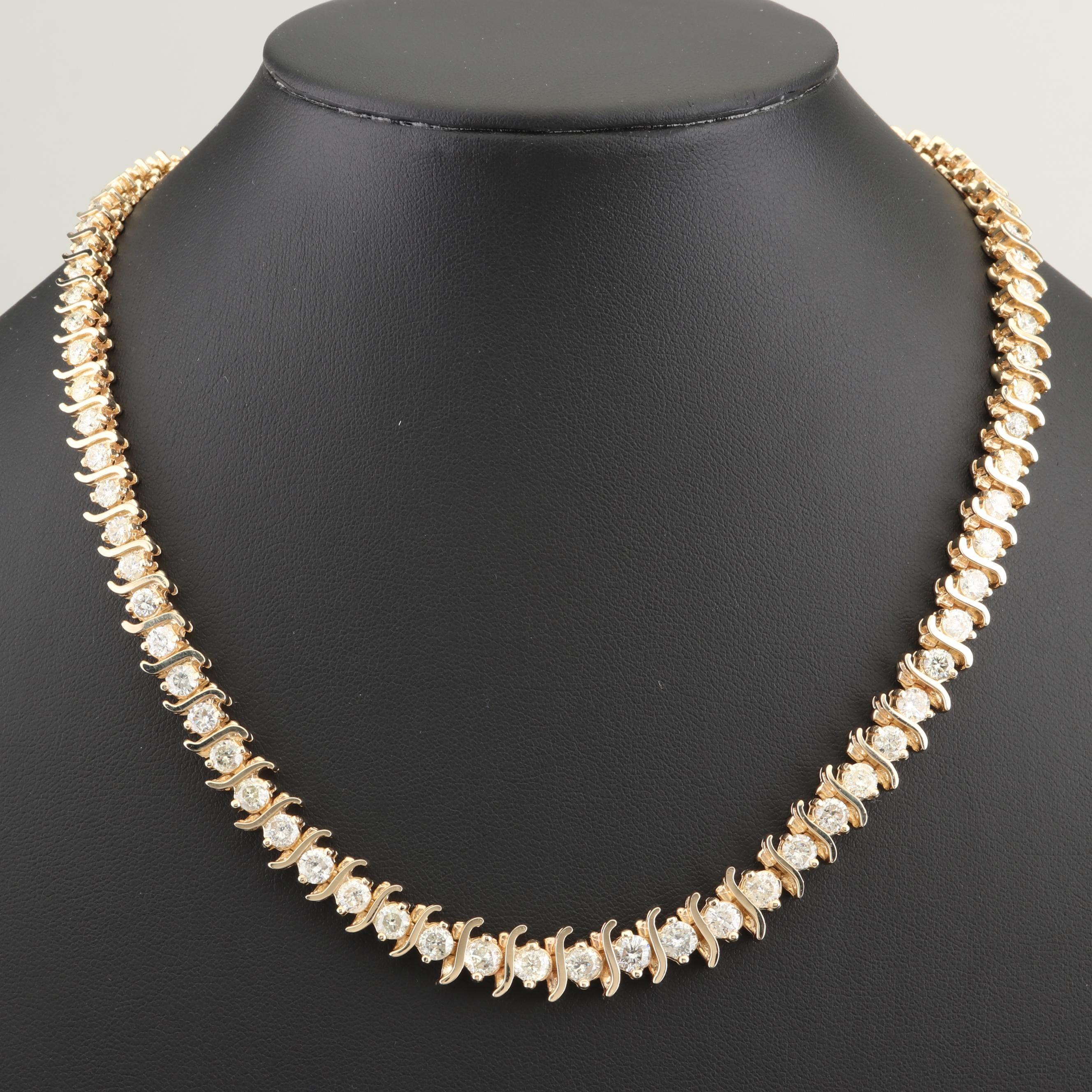 14K Yellow Gold 15.50 CTW Diamond Tennis Necklace