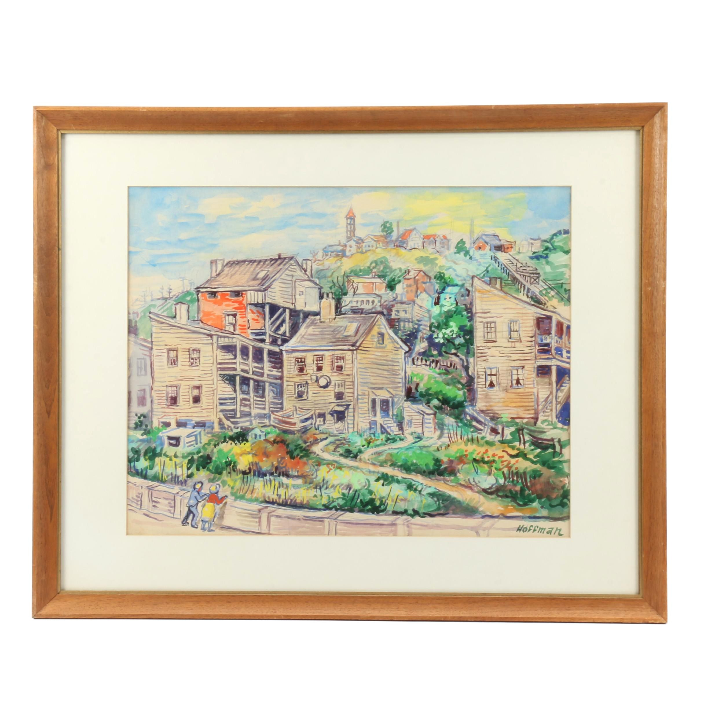 Hoffman Watercolor Painting of Buildings with Incline