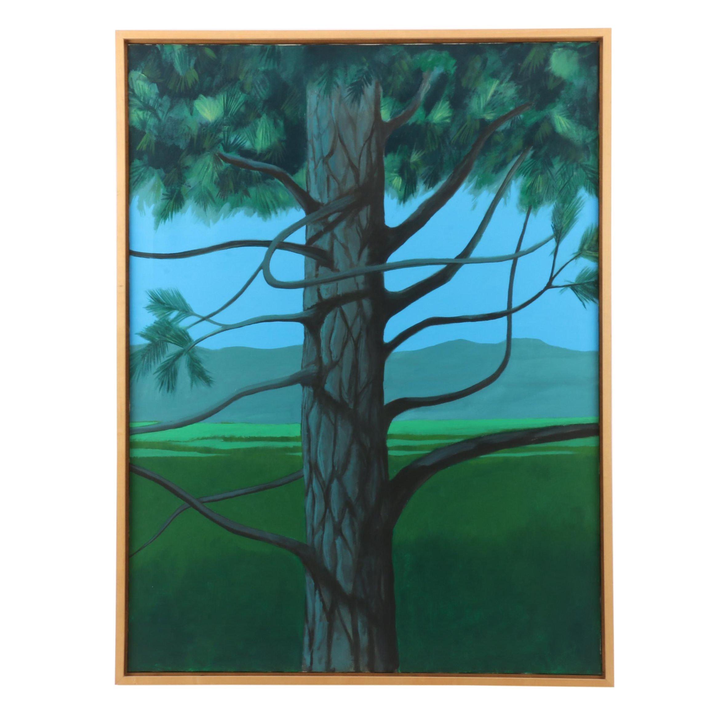 "Vernon Rader Acrylic Painting ""Blue Spruce"""