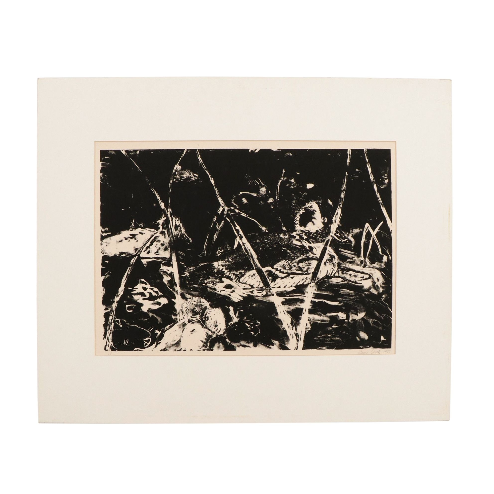 Elaine Goetz Limited Edition Abstract Serigraph of Stream with Ducks