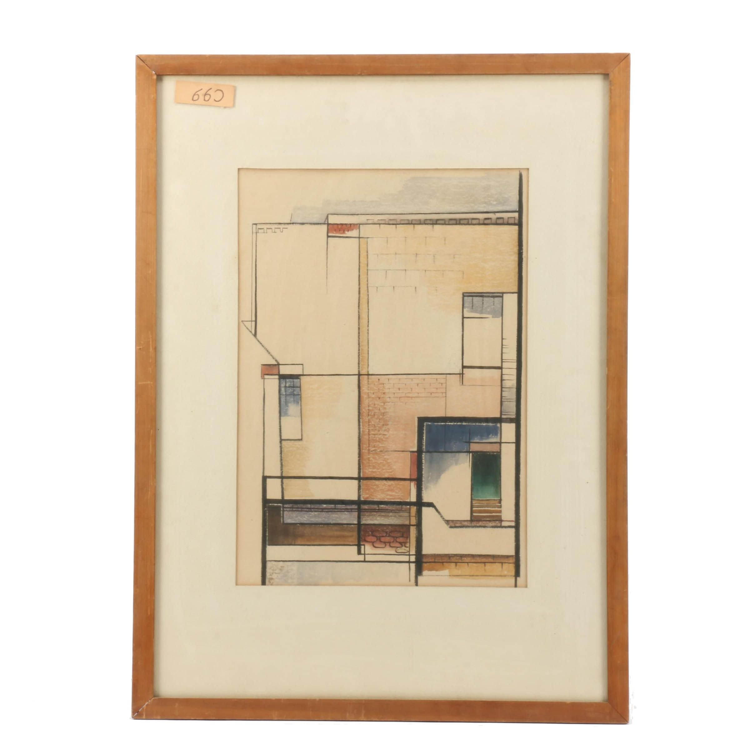 Robert Dribelbis Watercolor Painting of Abstracted Architecture