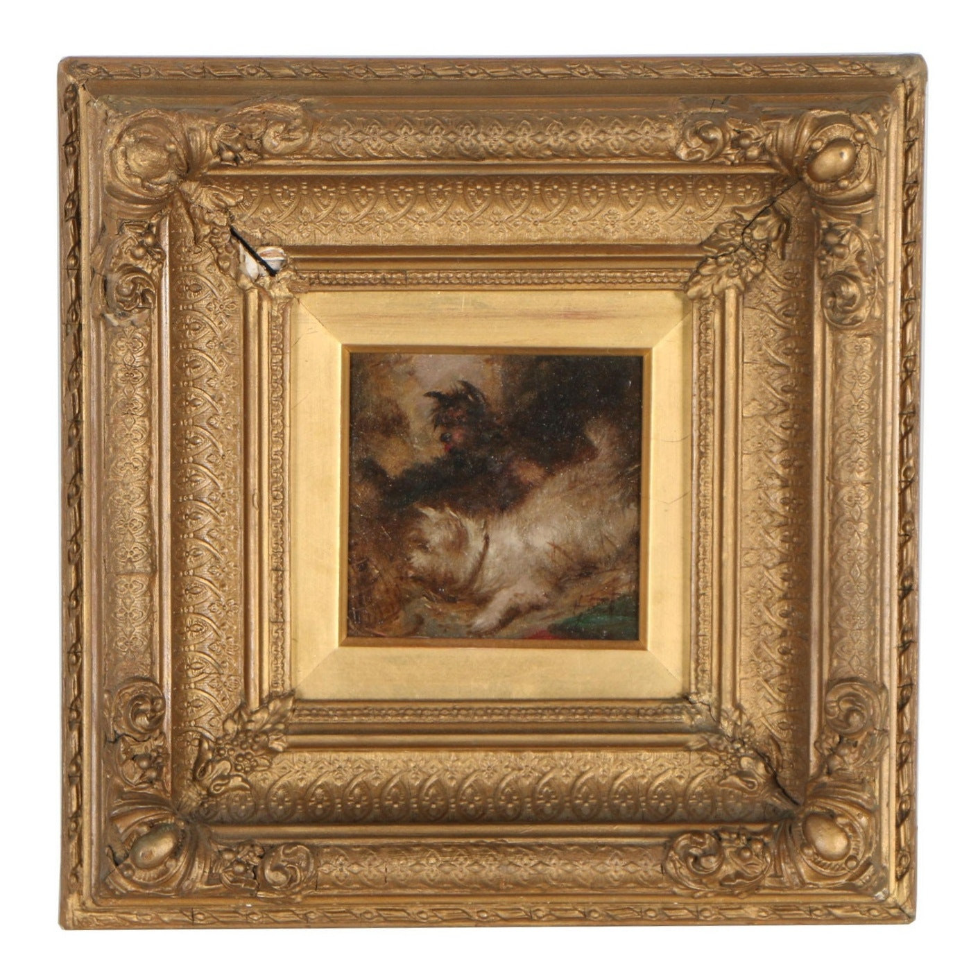 Late 19th Century Oil Painting of Terriers