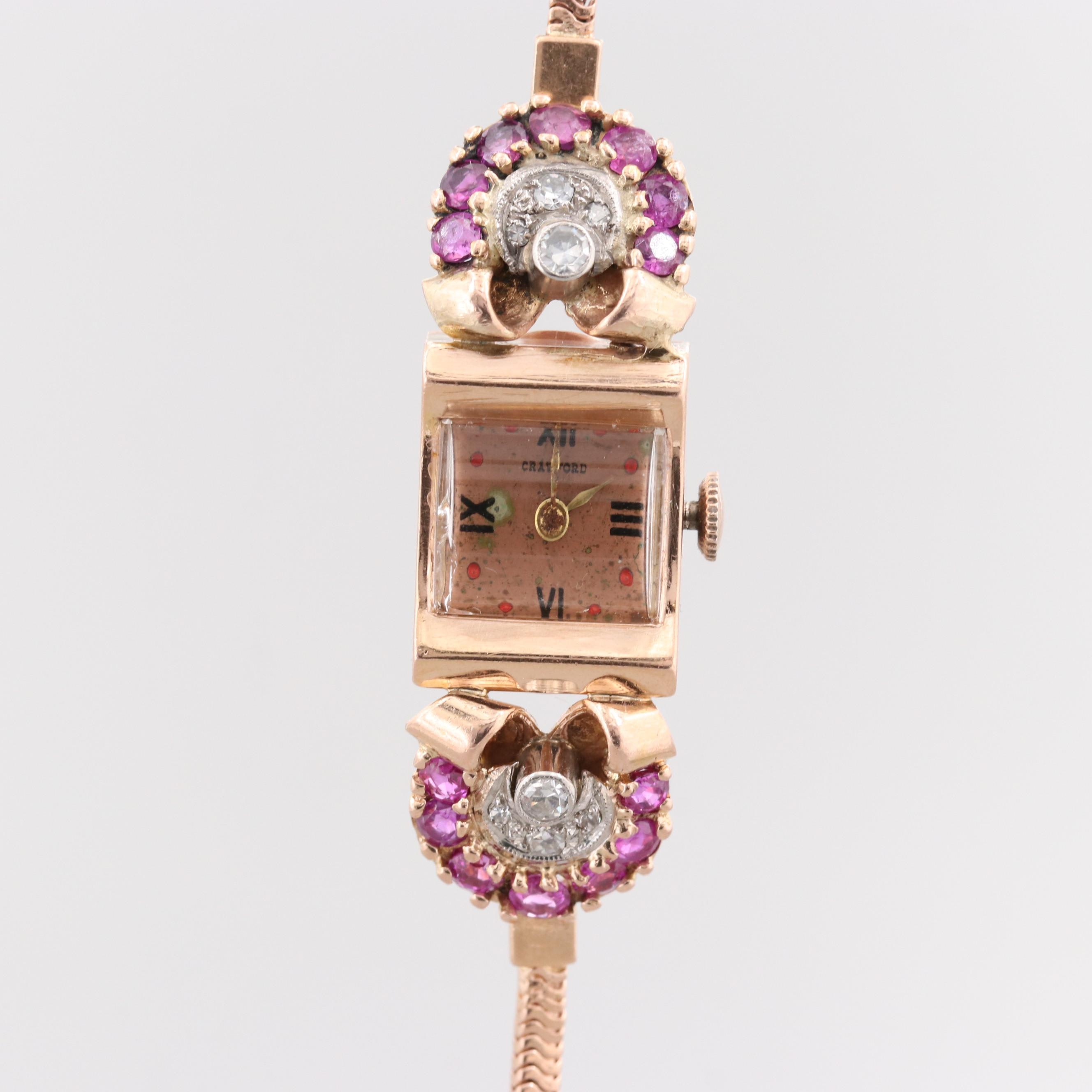 Vintage Crawford 14K Rose Gold Stem Wind Wristwatch With Diamond and Ruby Lugs