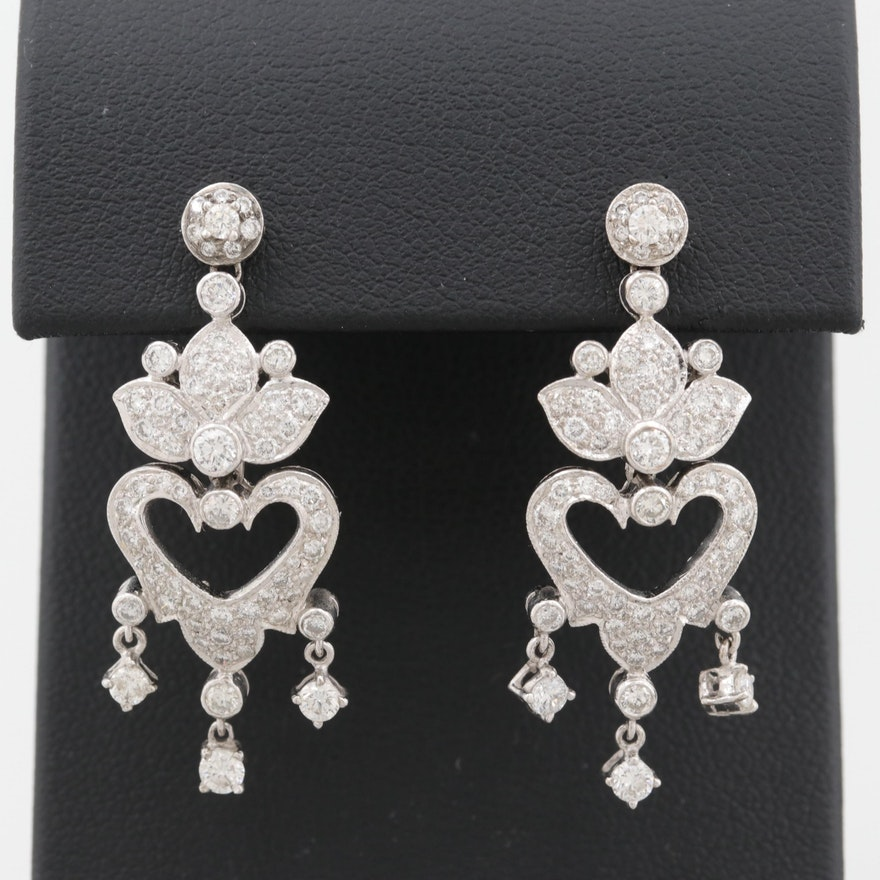 767cff099 18K White Gold 2.35 CTW Diamond Chandelier Earrings   EBTH