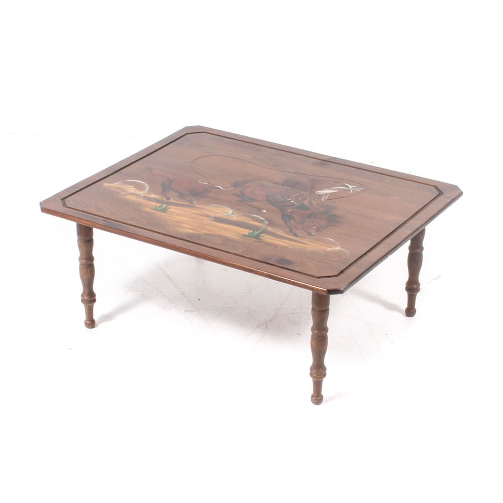 Western Themed Hand-Painted Coffee Table