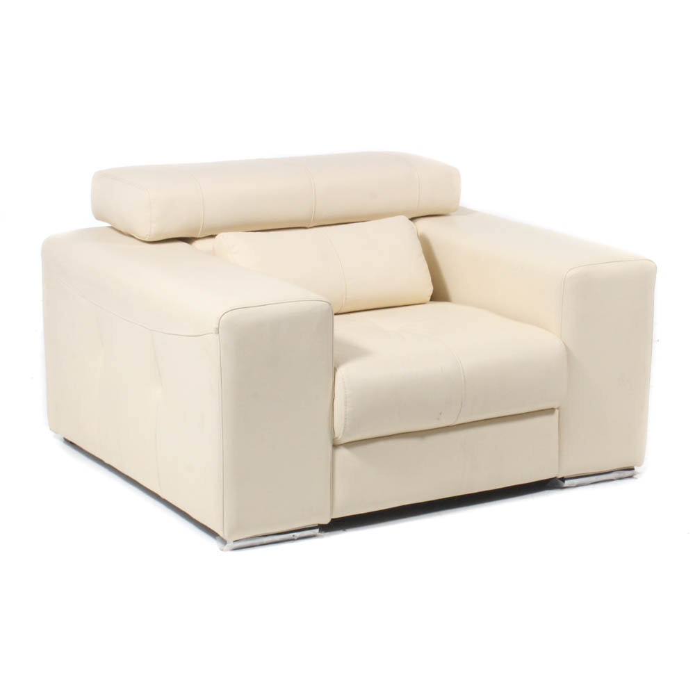 Oversize Contemporary Off-White Leather Chair with Adjustable Headrest