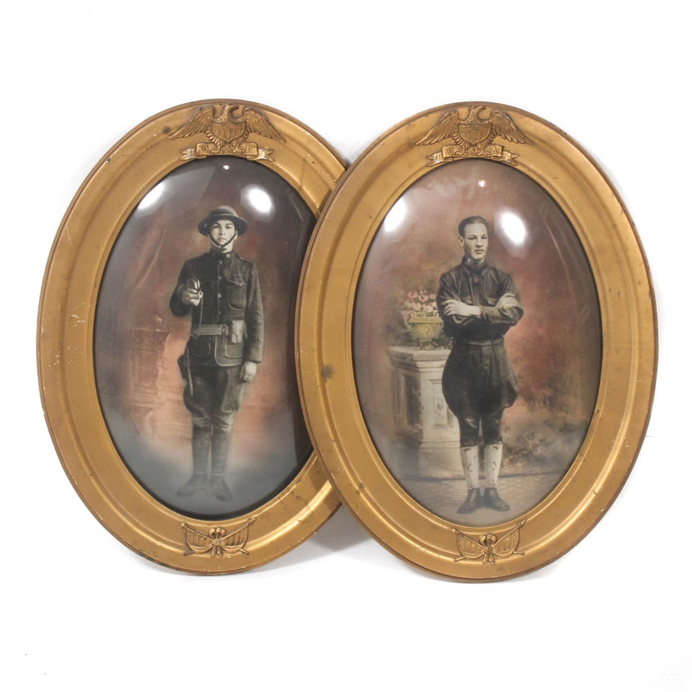 Hand-Colored WWI Soldier Photographs in Convex Glass Frames