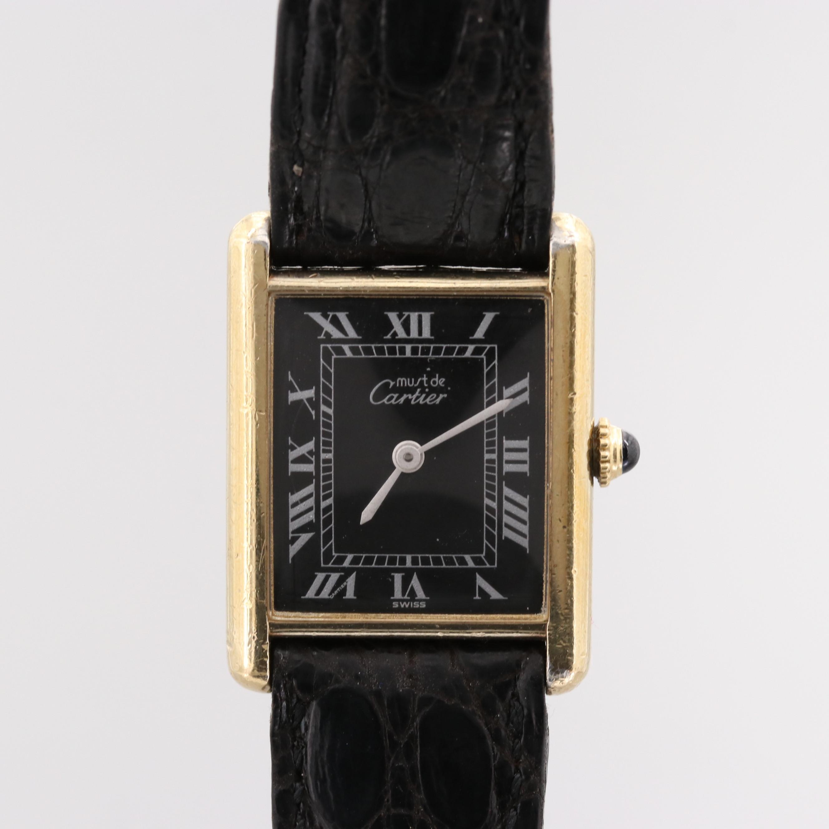 Cartier Tank Gold Wash on Sterling Silver Wristwatch