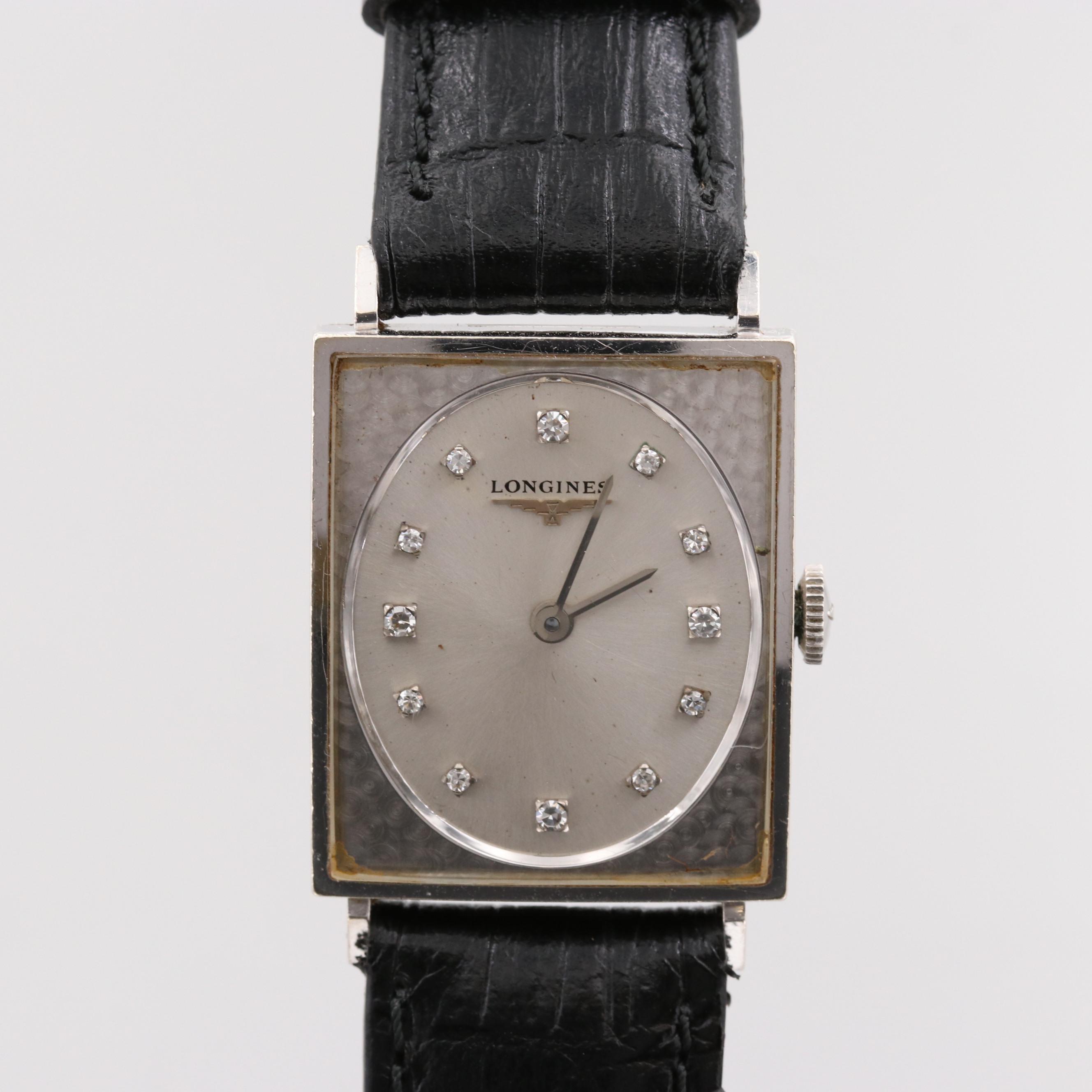 Longines 14K White Gold Wristwatch with Diamond Dial