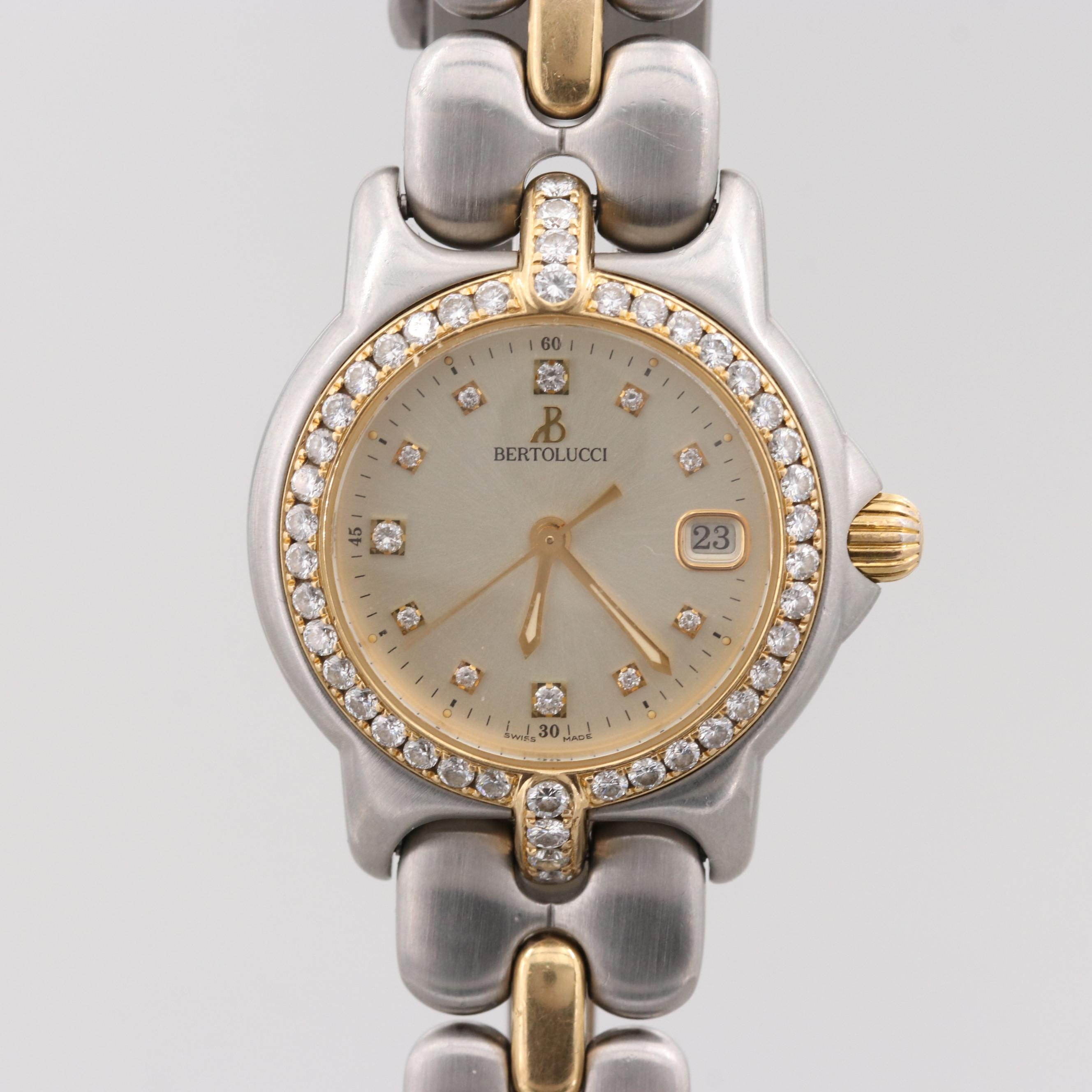Bertolucci Pulchra Two-Tone Wristwatch With 1.23 CTW Diamond Dial and Bezel