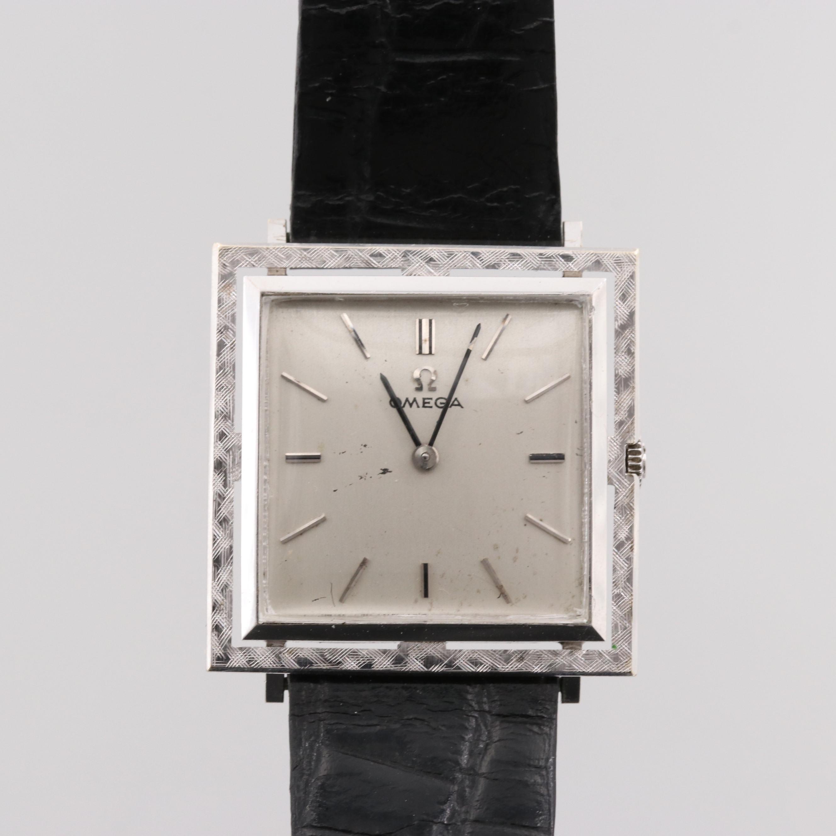 Vintage Omega DeVille 14K White Gold Stem Wind Wristwatch