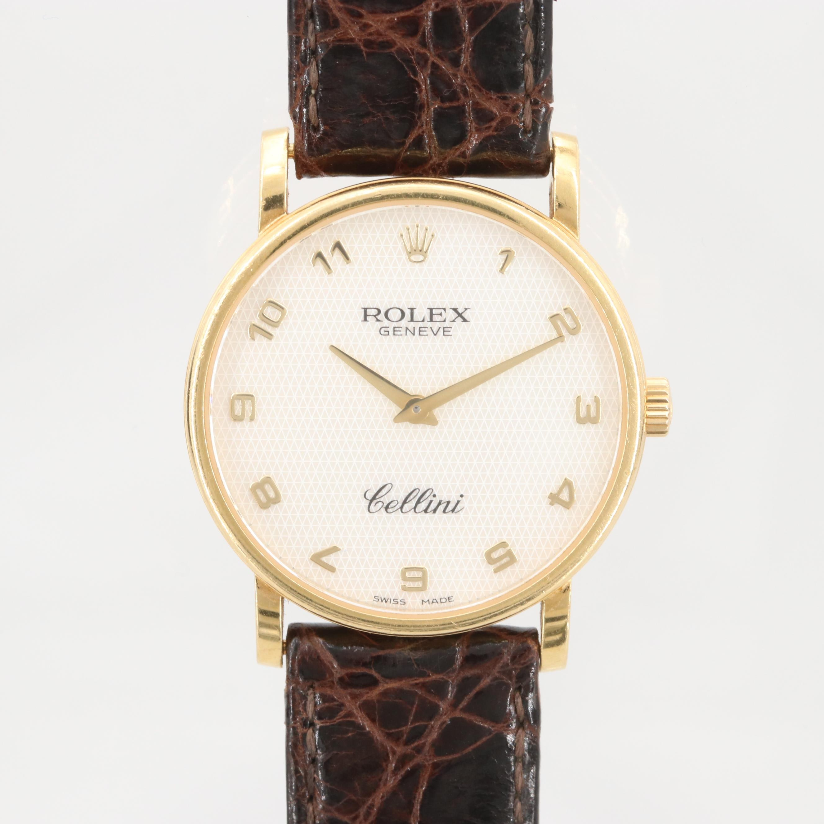 Rolex Cellini 18K Yellow Gold Wristwatch With Mother of Pearl Dial