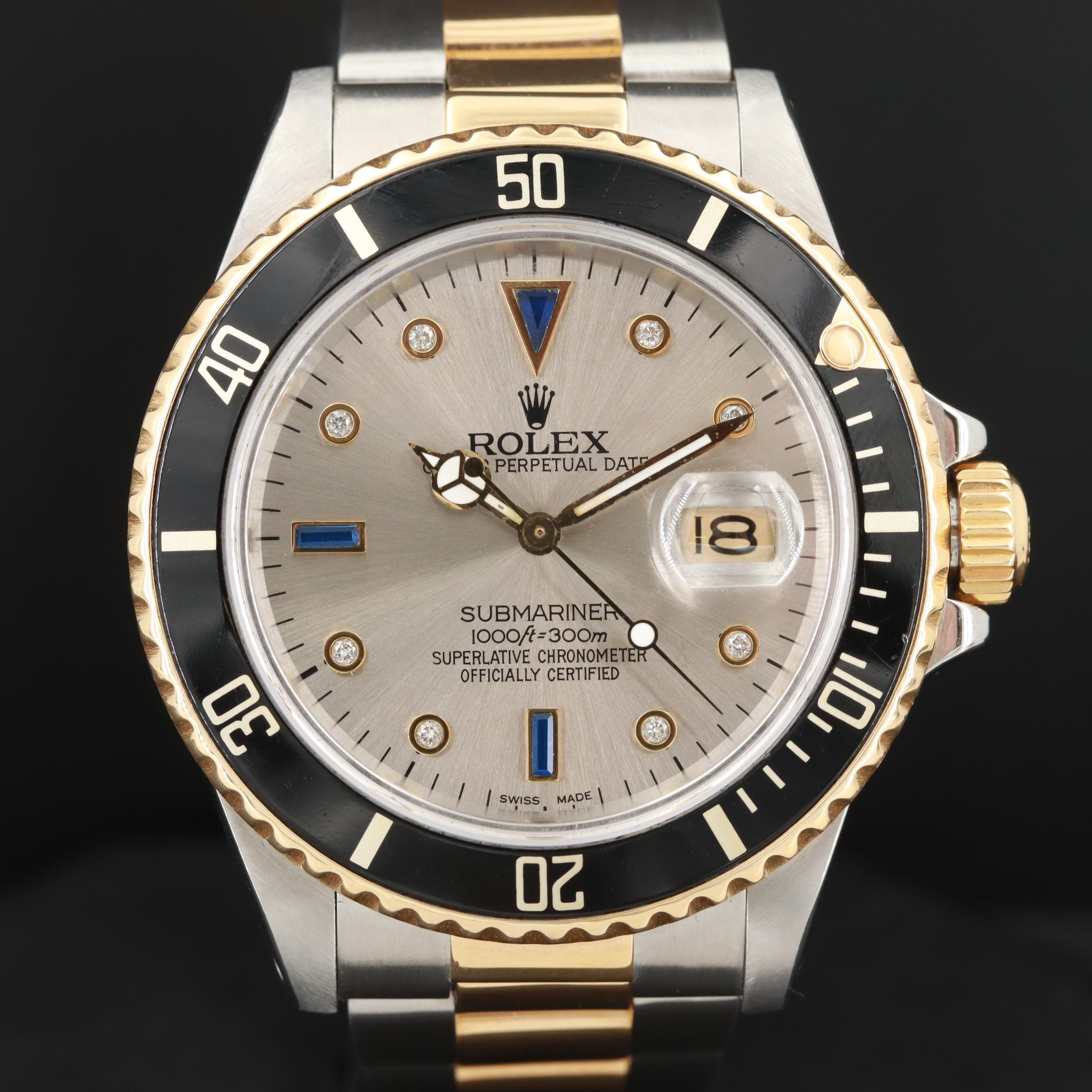 Rolex Submariner Two-Tone Wristwatch With Aftermarket Diamond Dial, 1988