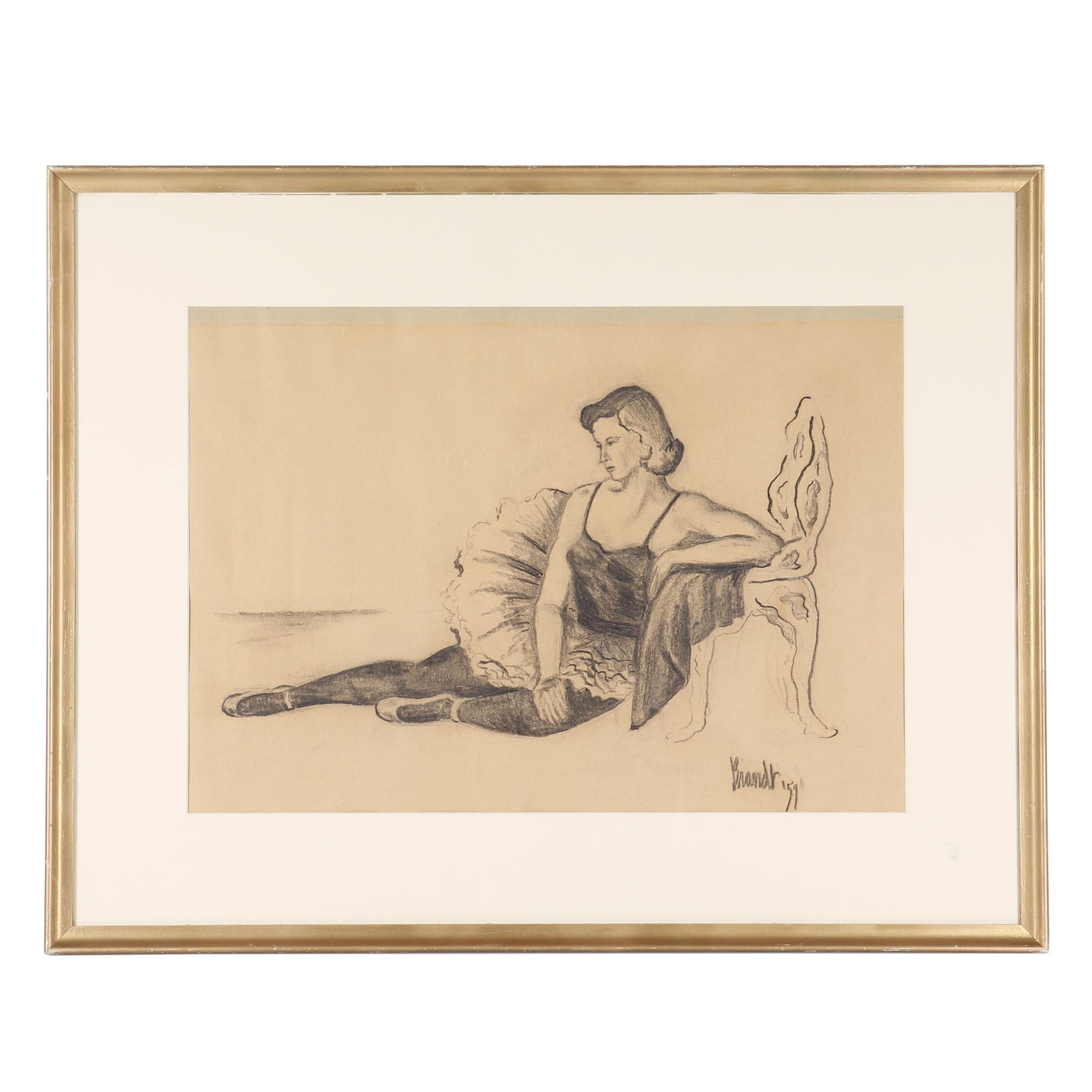 Mid Century Ballerina Charcoal Drawing