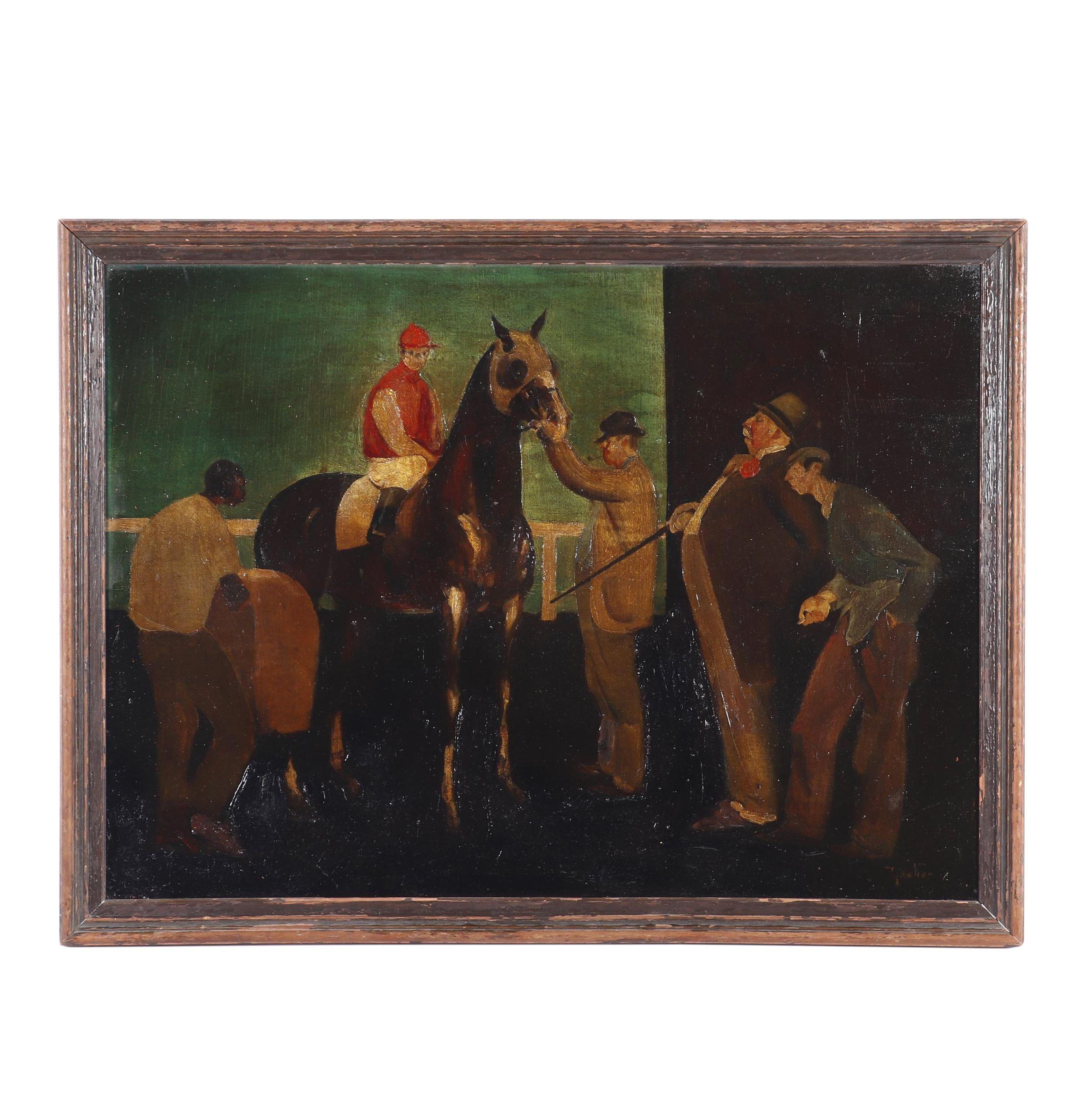 Ty Mahon Racecourse Scene Oil Painting