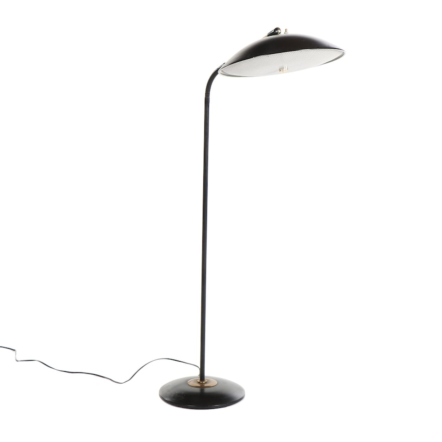 Prescolite Floor Lamp With Br Detailing And Iron Base Mid Century