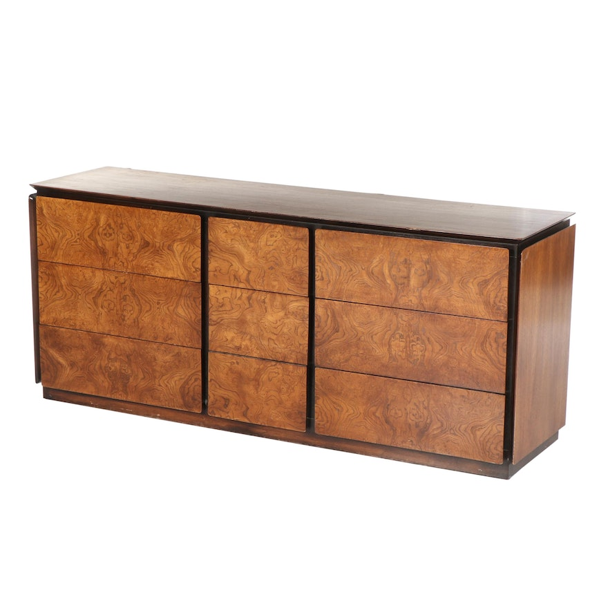 Mid Century Modern Burl Wood Veneer Nine Drawer Dresser By Lane Mid 20th C