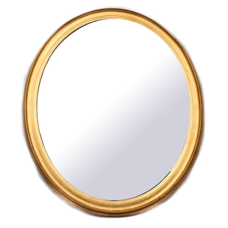 Vintage Gilt Framed Oval Wall Mirror by LaBarge