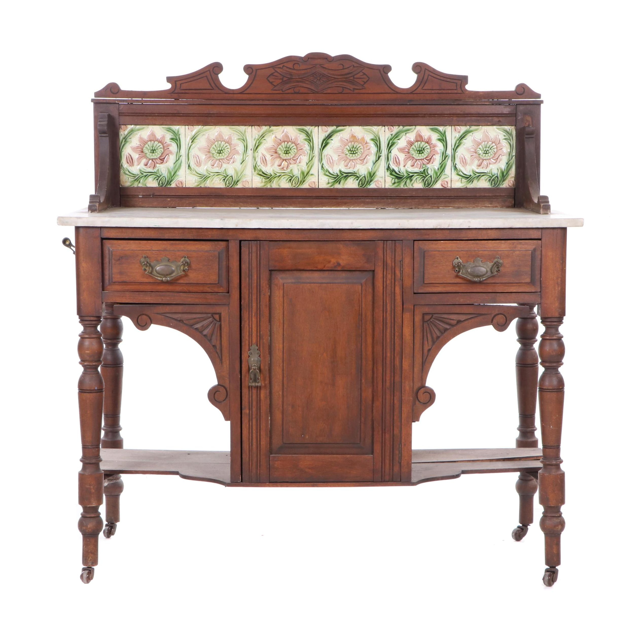 Eastlake Style Carved Mahogany and Marble Sideboard on Casters, Early 20th C.