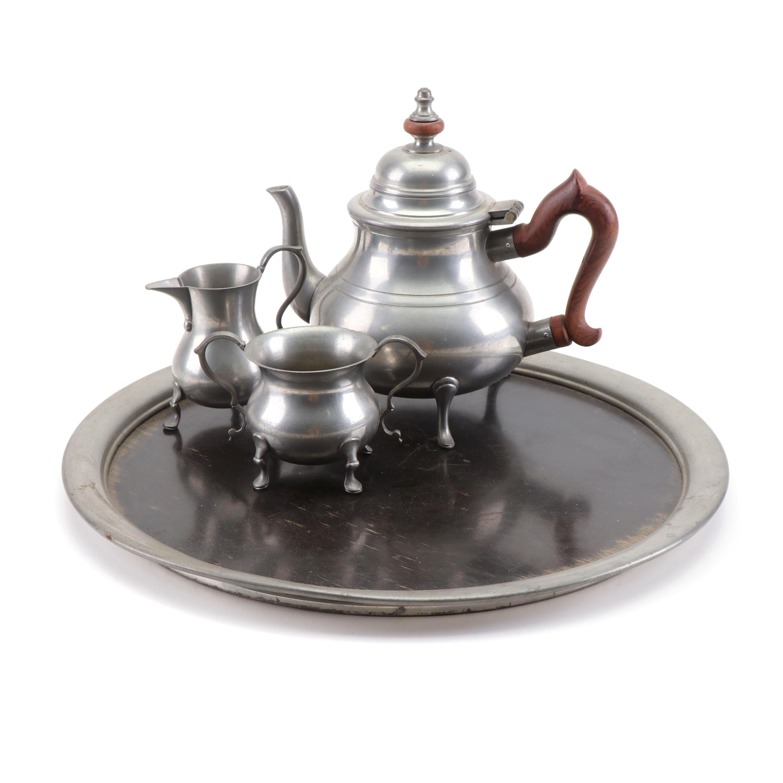 "Stieff Pewter ""Williamsburg Restoration"" Tea Set with Royal Holland Pewter Tray"