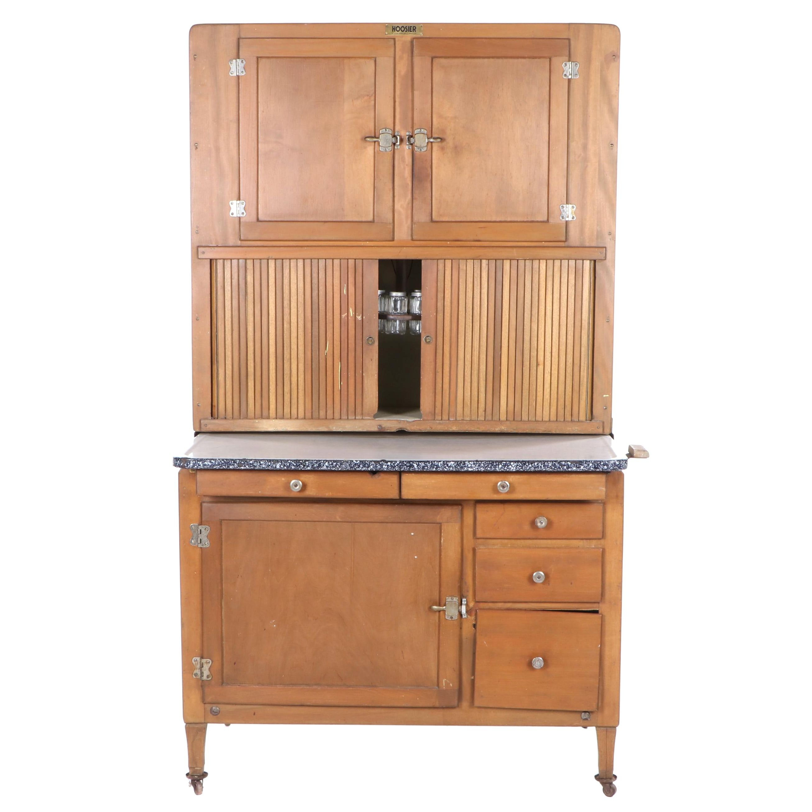 Birch Two-Piece Hoosier Cabinet by The Hoosier Manufacturing Company, 20th C.