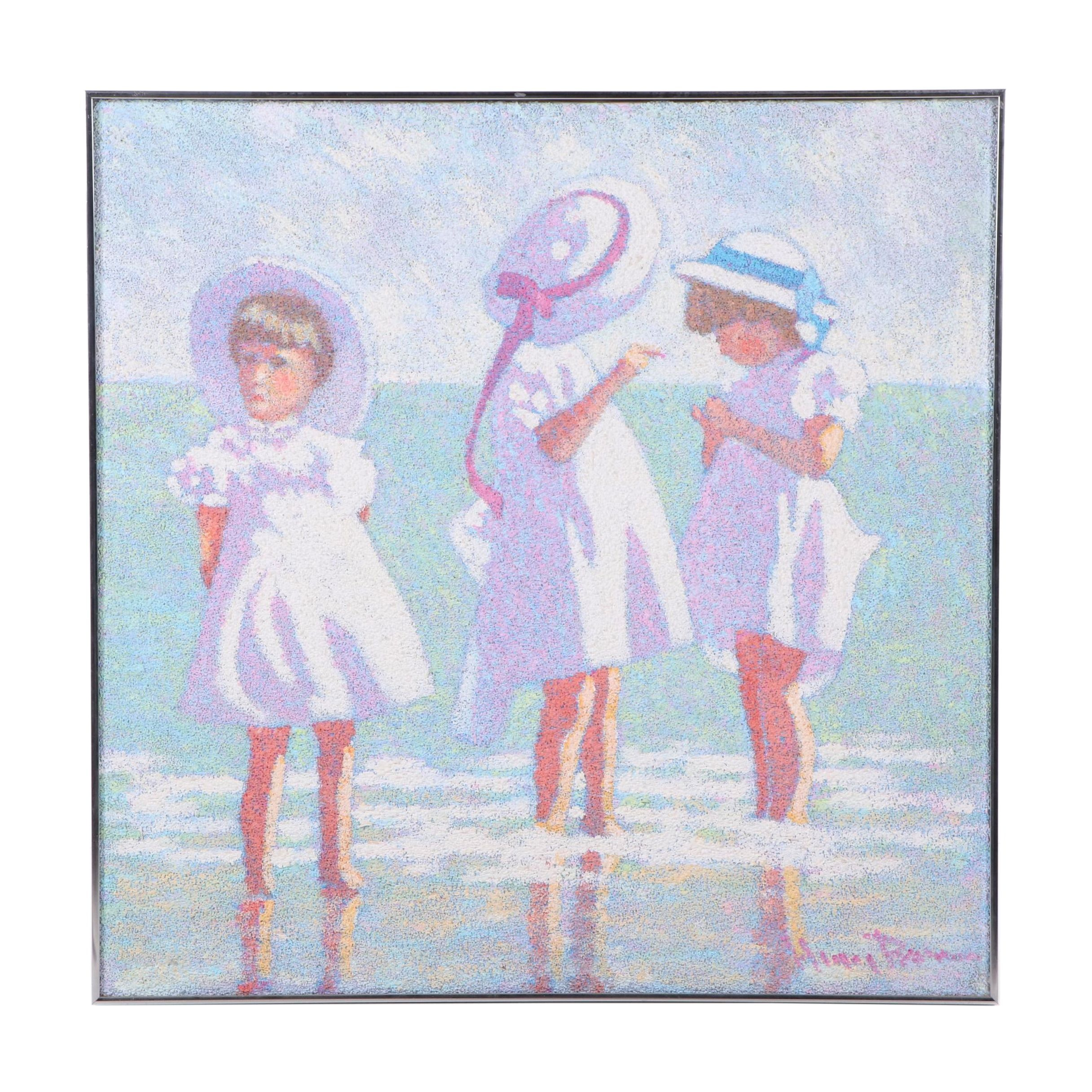 Textured Acrylic Painting of Children on Beach