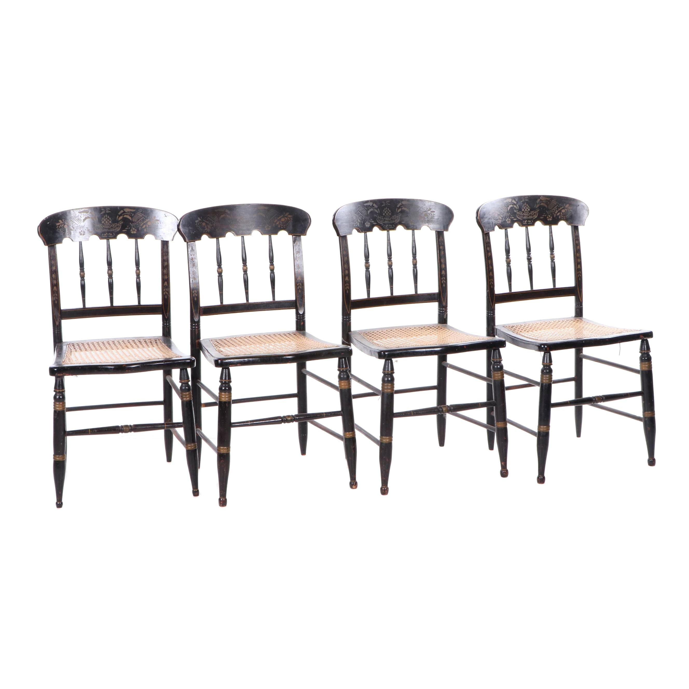 Hitchcock Style Painted and Stenciled Wood Chairs with Cane Seats, Late 19th C.