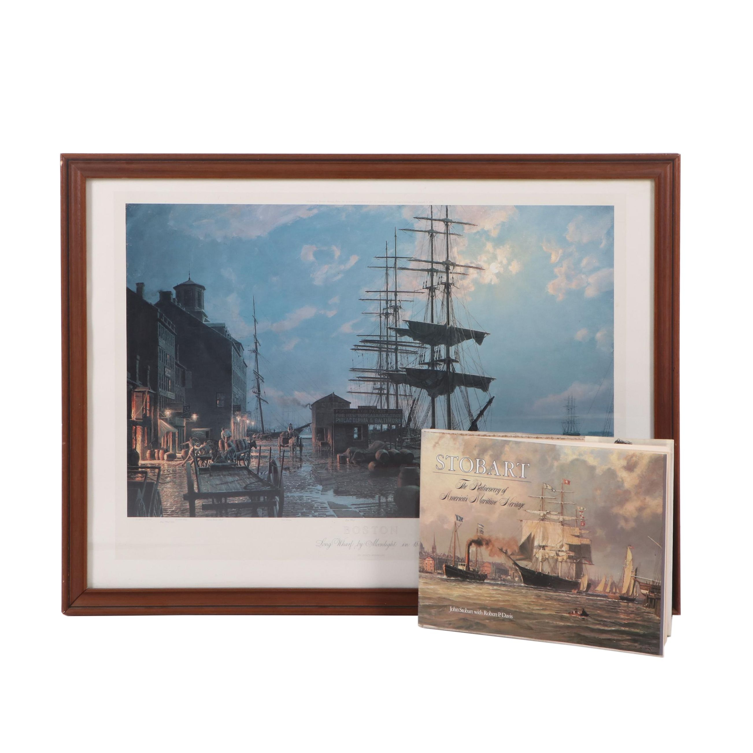 "John Stobart Lithograph ""Long Wharf by Moonlight in 1865"" and Book"