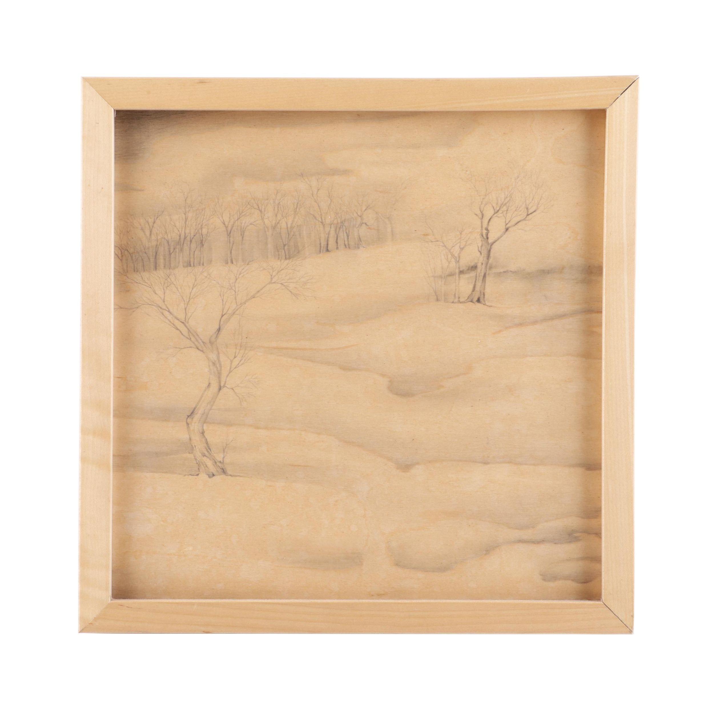"""Kathy Halamka Charcoal Drawing """"Memory & Longing: Access"""""""