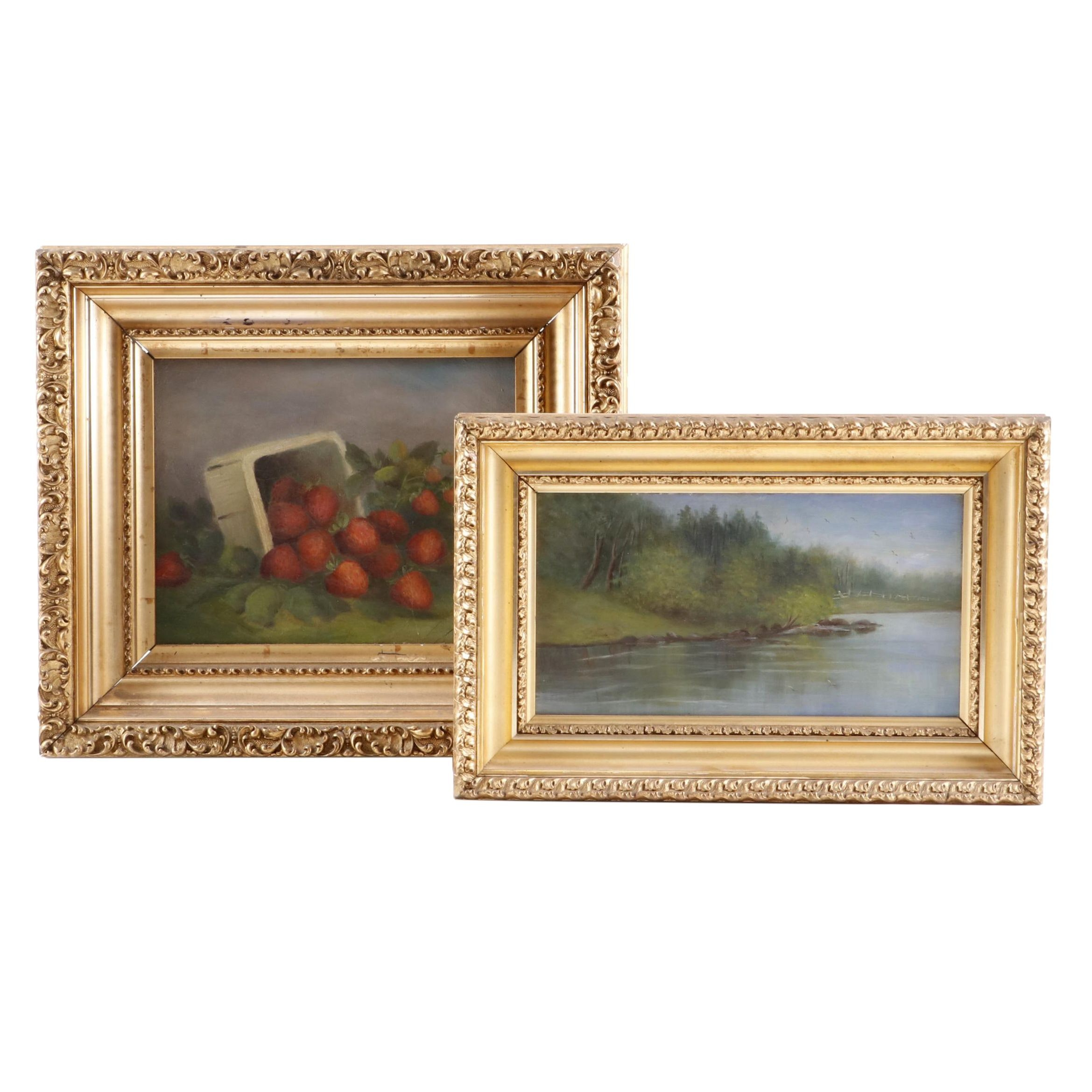 Still Life with Strawberries and River Landscape Oil Paintings