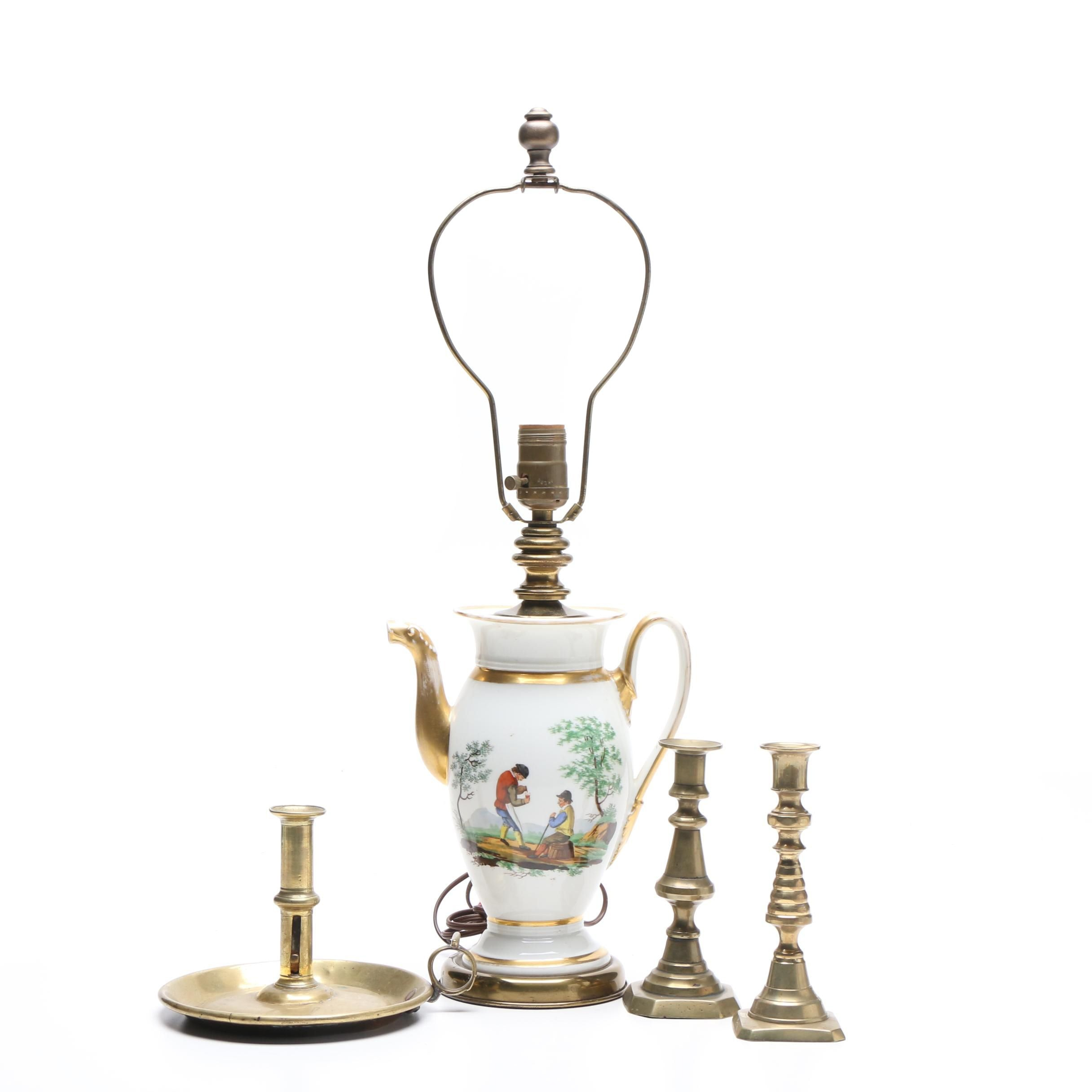 Converted Hand-Painted Teapot Table Lamp and Brass Candleholders