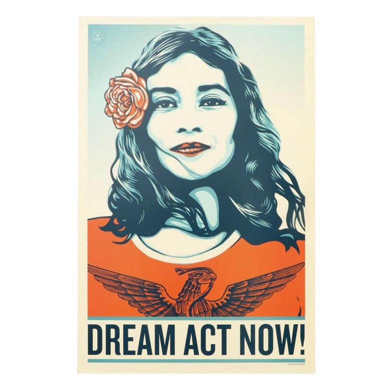 "Offset Lithograph Political Poster Designed by Shepard Fairey ""Dream Act Now!"""