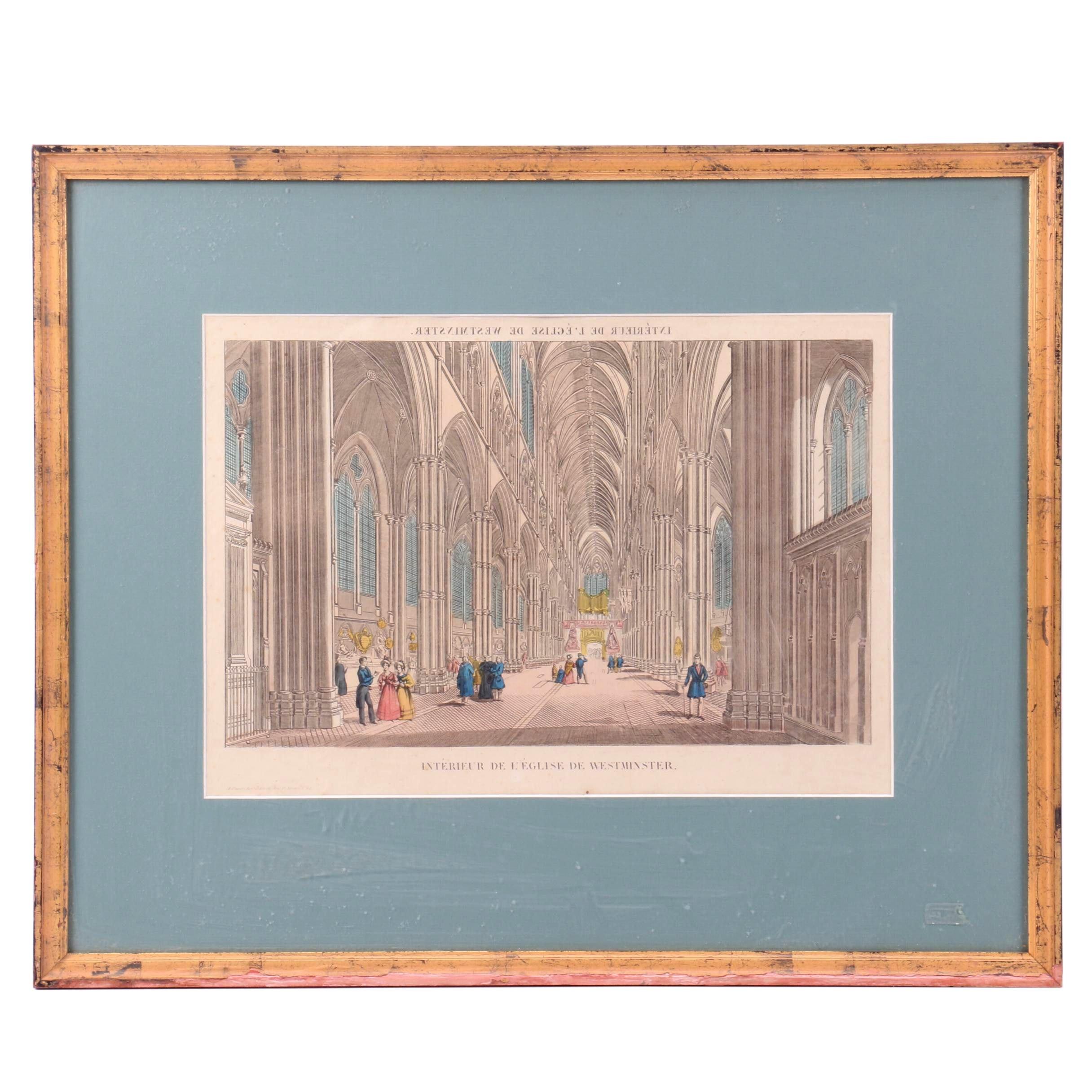 """Hand-colored Engraving """"Interieur de L'Eglise de Westminster"""""""