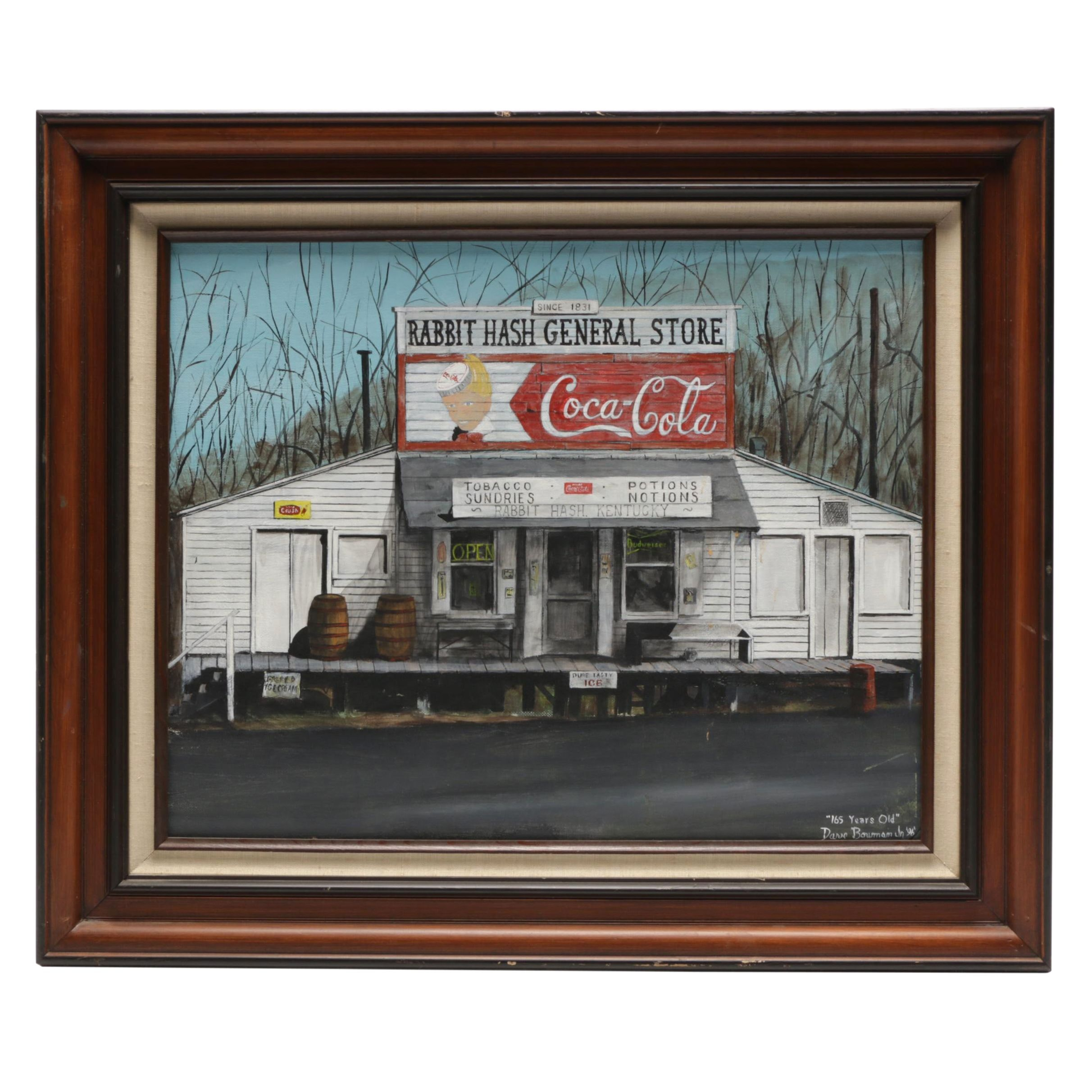 "Dave Bowman Jr. Rabbit Hash General Store Acrylic Painting ""165 Years Old"""