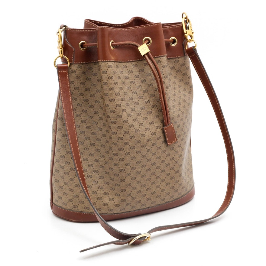 d2a649f305b8 Gucci GG Monogram Coated Canvas and Leather Bucket Bag