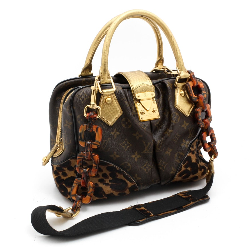 447f84c85b49 Louis Vuitton Limited Edition Monogram and Leopard Calf Hair Adele Satchel